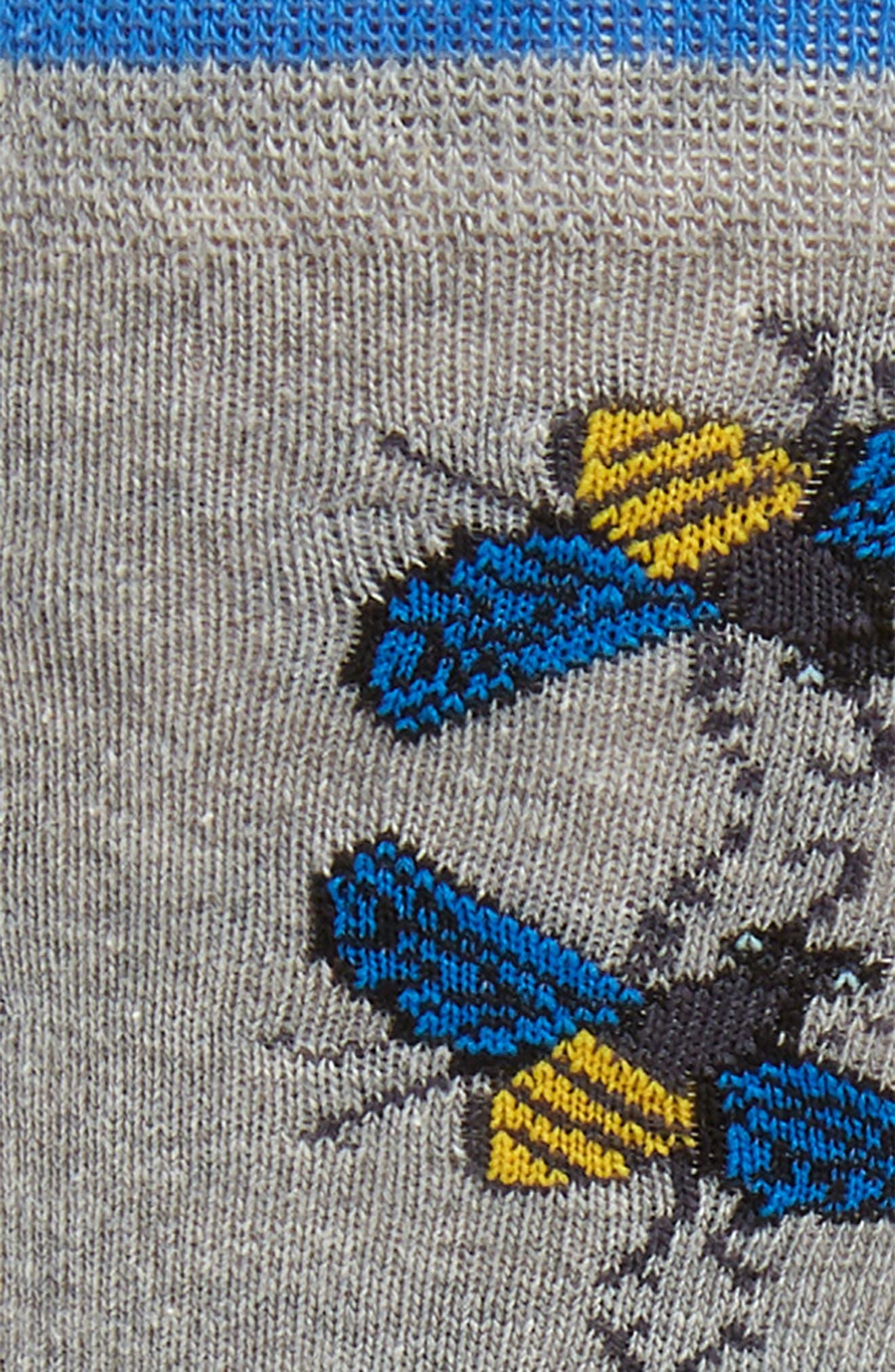 TED BAKER LONDON, Allover Bee Socks, Alternate thumbnail 2, color, GREY