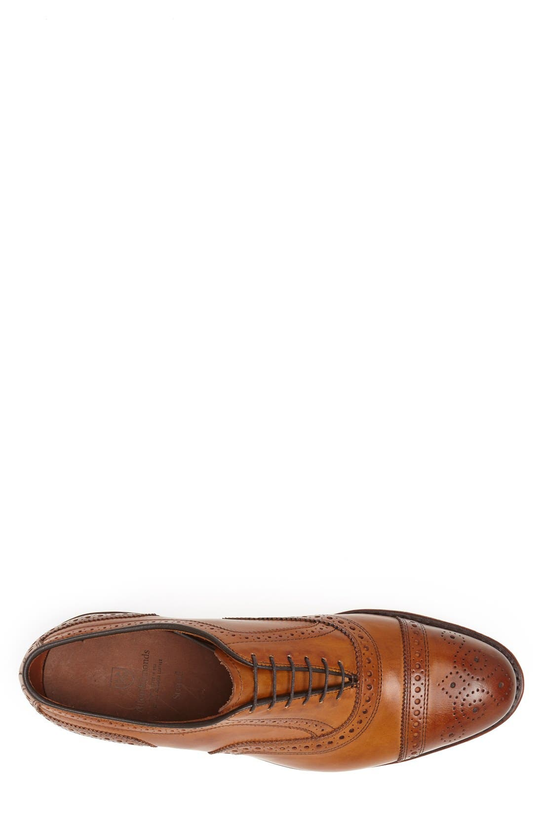 ALLEN EDMONDS, 'Strand' Cap Toe Oxford, Alternate thumbnail 4, color, WALNUT LEATHER