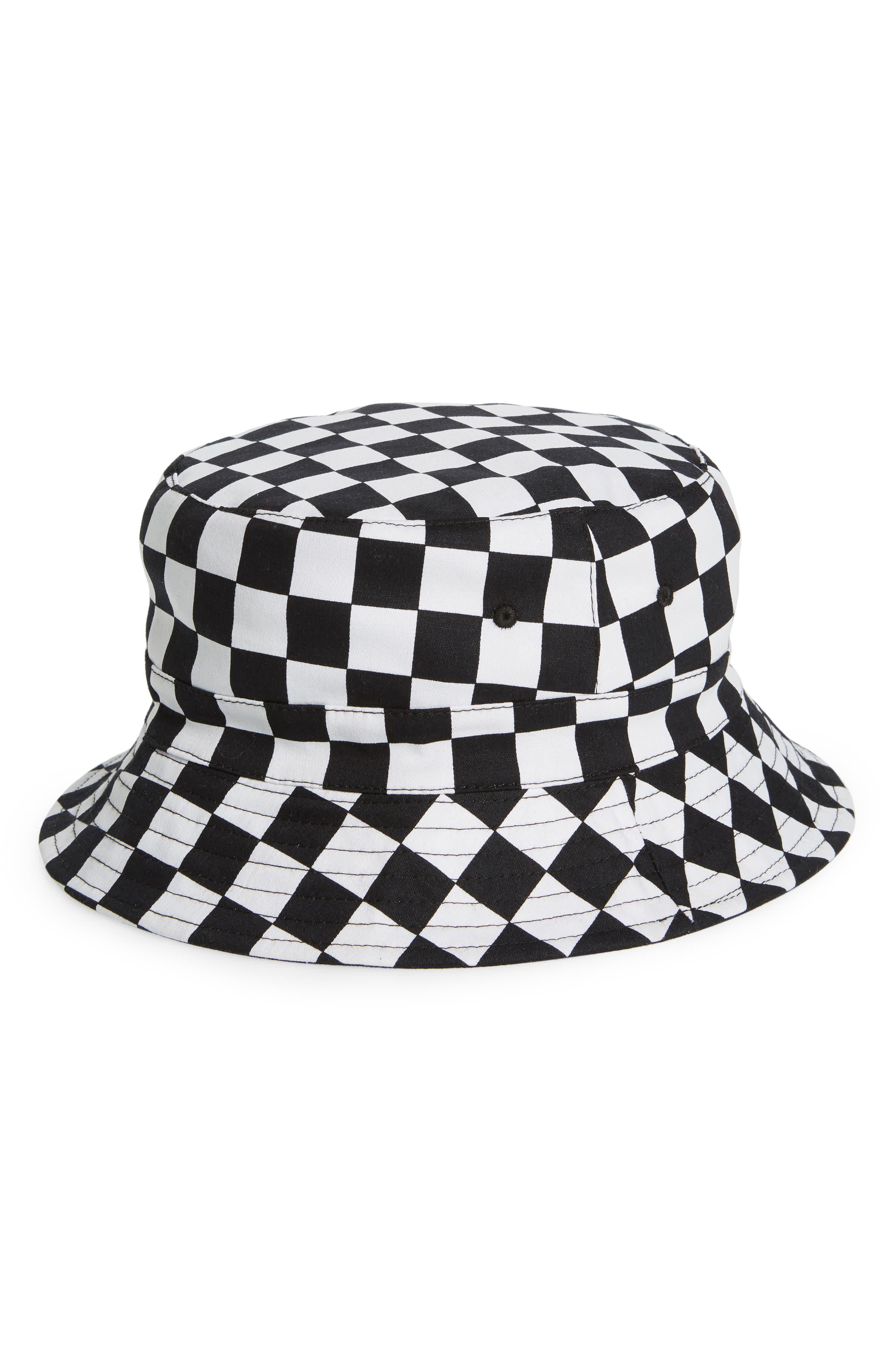 THE RAIL, Rio Reversible Bucket Hat, Main thumbnail 1, color, BLACK WHITE CHECK/ BLACK