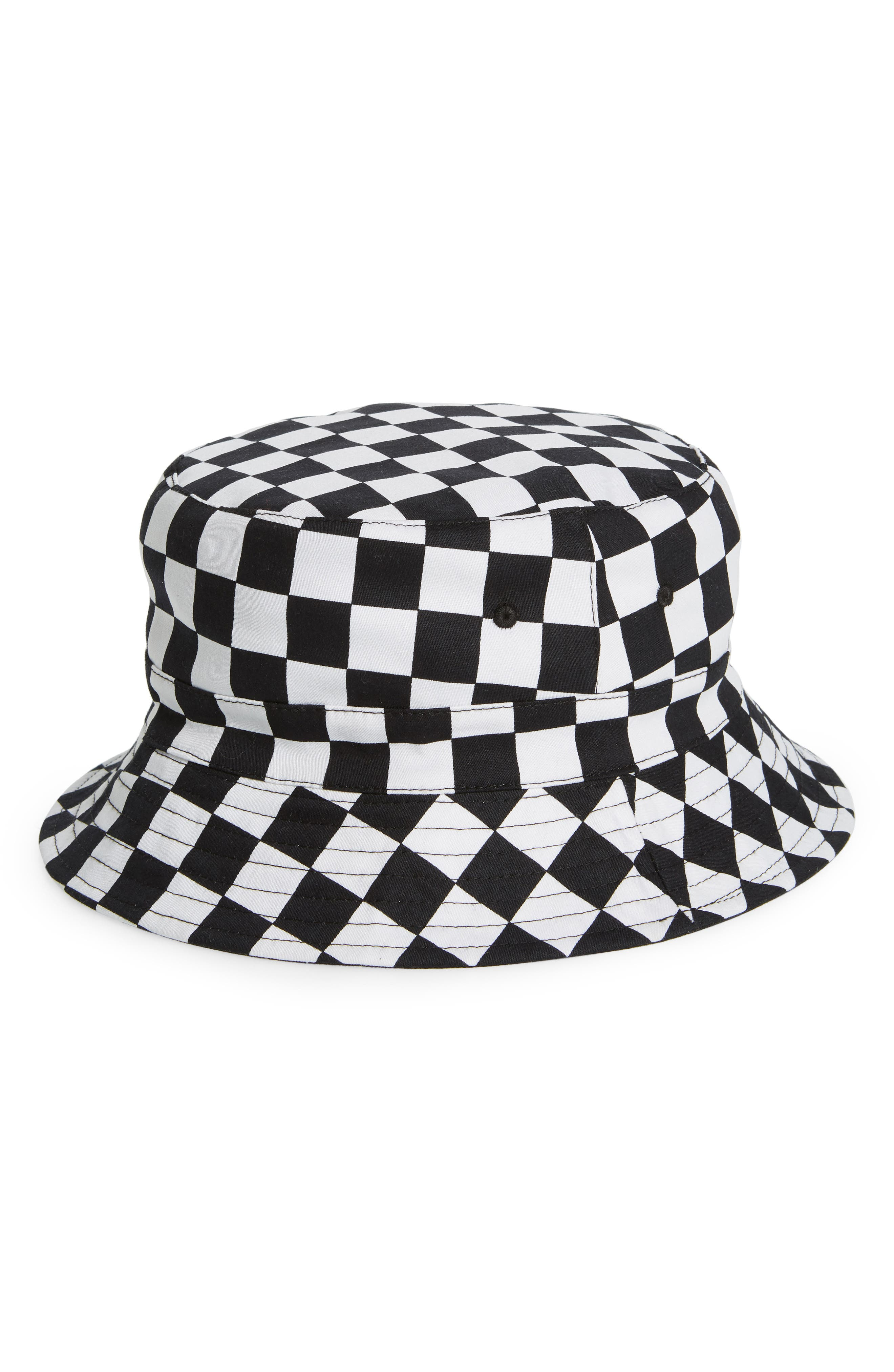 THE RAIL Rio Reversible Bucket Hat, Main, color, BLACK WHITE CHECK/ BLACK