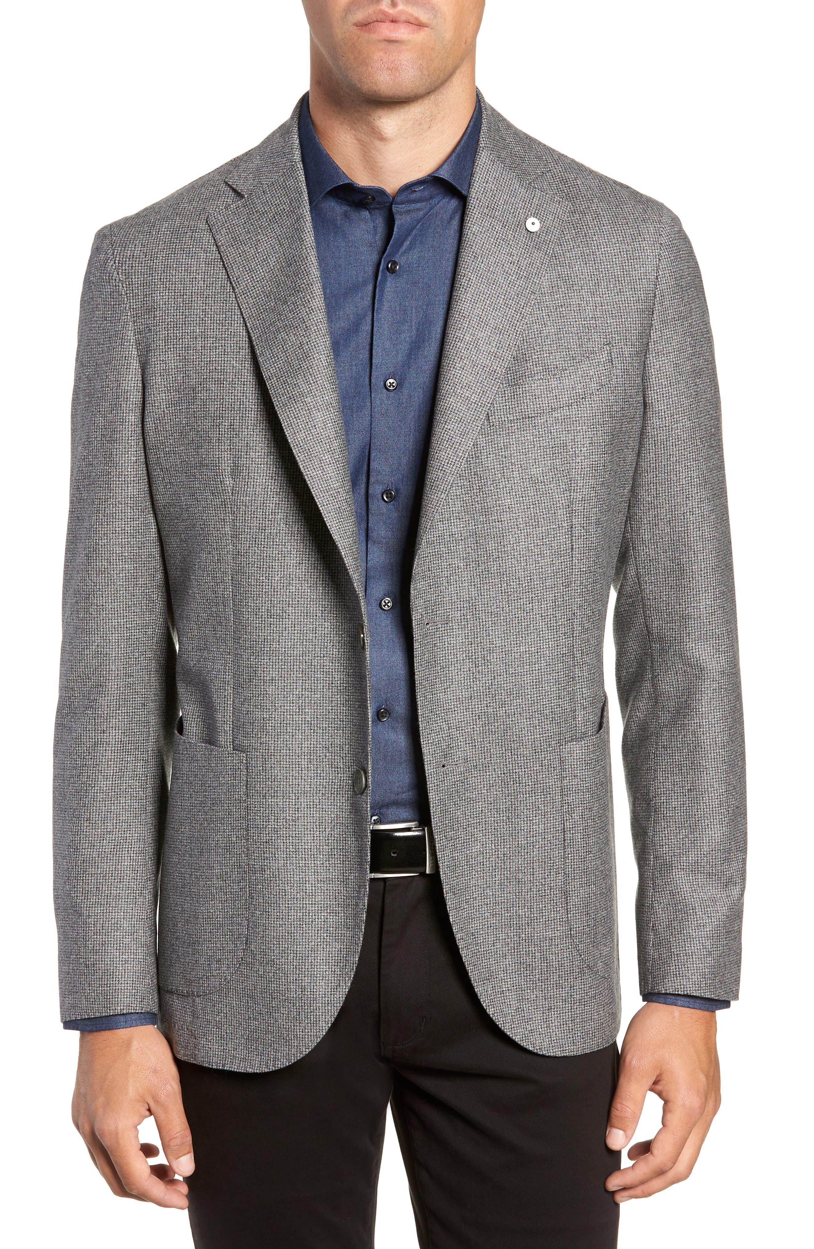 L.B.M. 1911 L.B.M 1911 Classic Fit Check Wool Sport Coat, Main, color, GREY