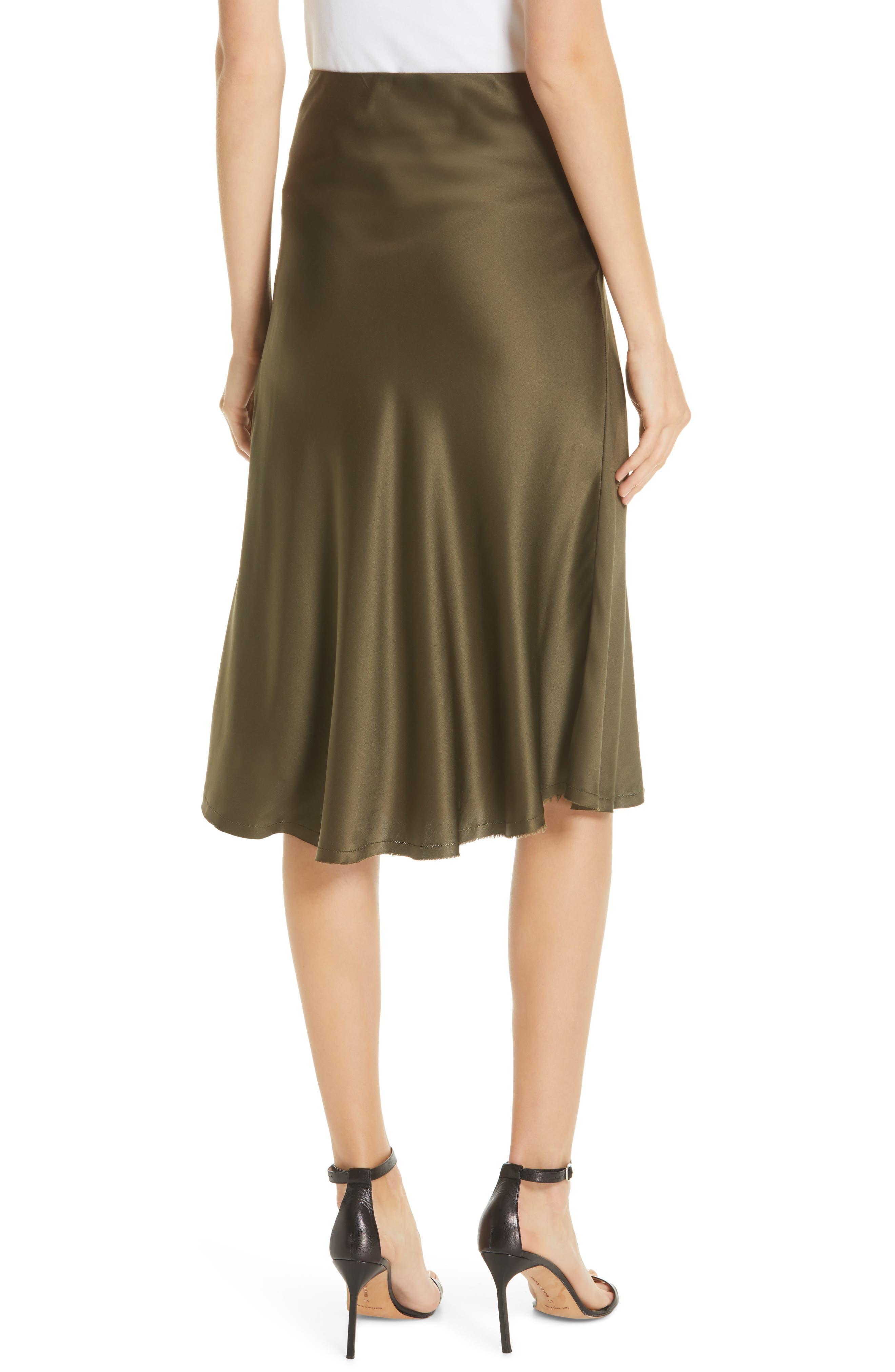 NILI LOTAN, Lane Silk Skirt, Alternate thumbnail 2, color, ARMY GREEN