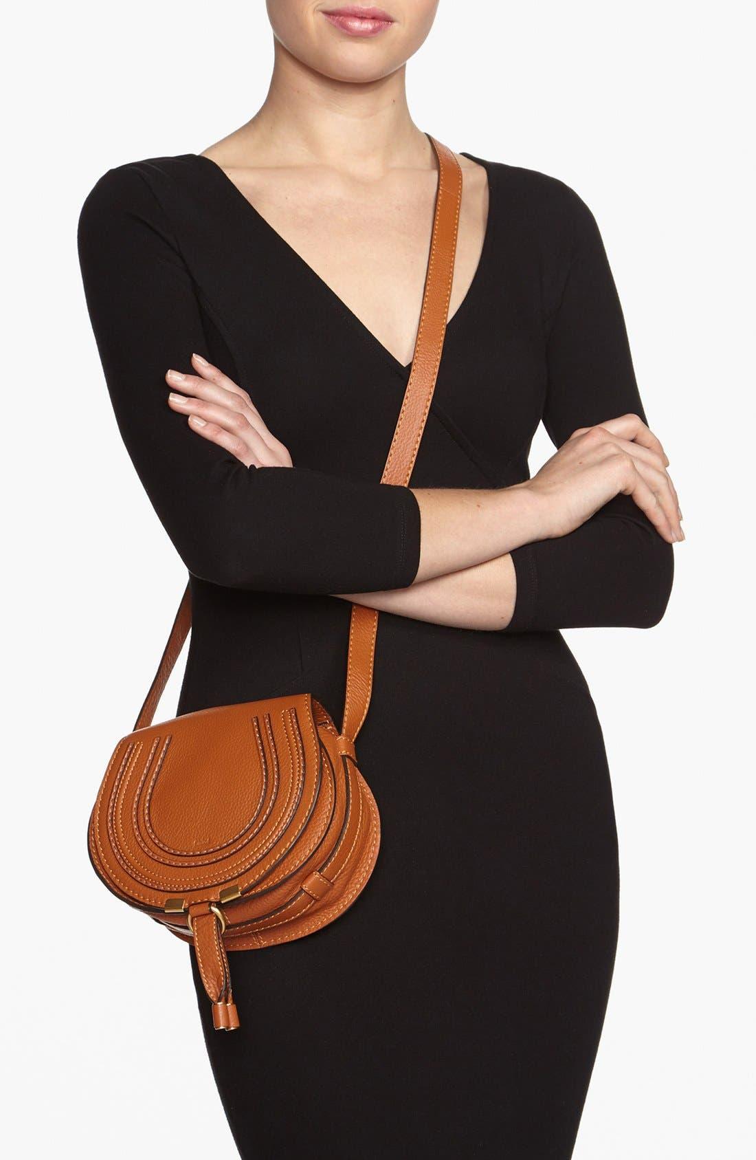 CHLOÉ, 'Mini Marcie' Leather Crossbody Bag, Alternate thumbnail 2, color, TAN GOLD HRDWRE