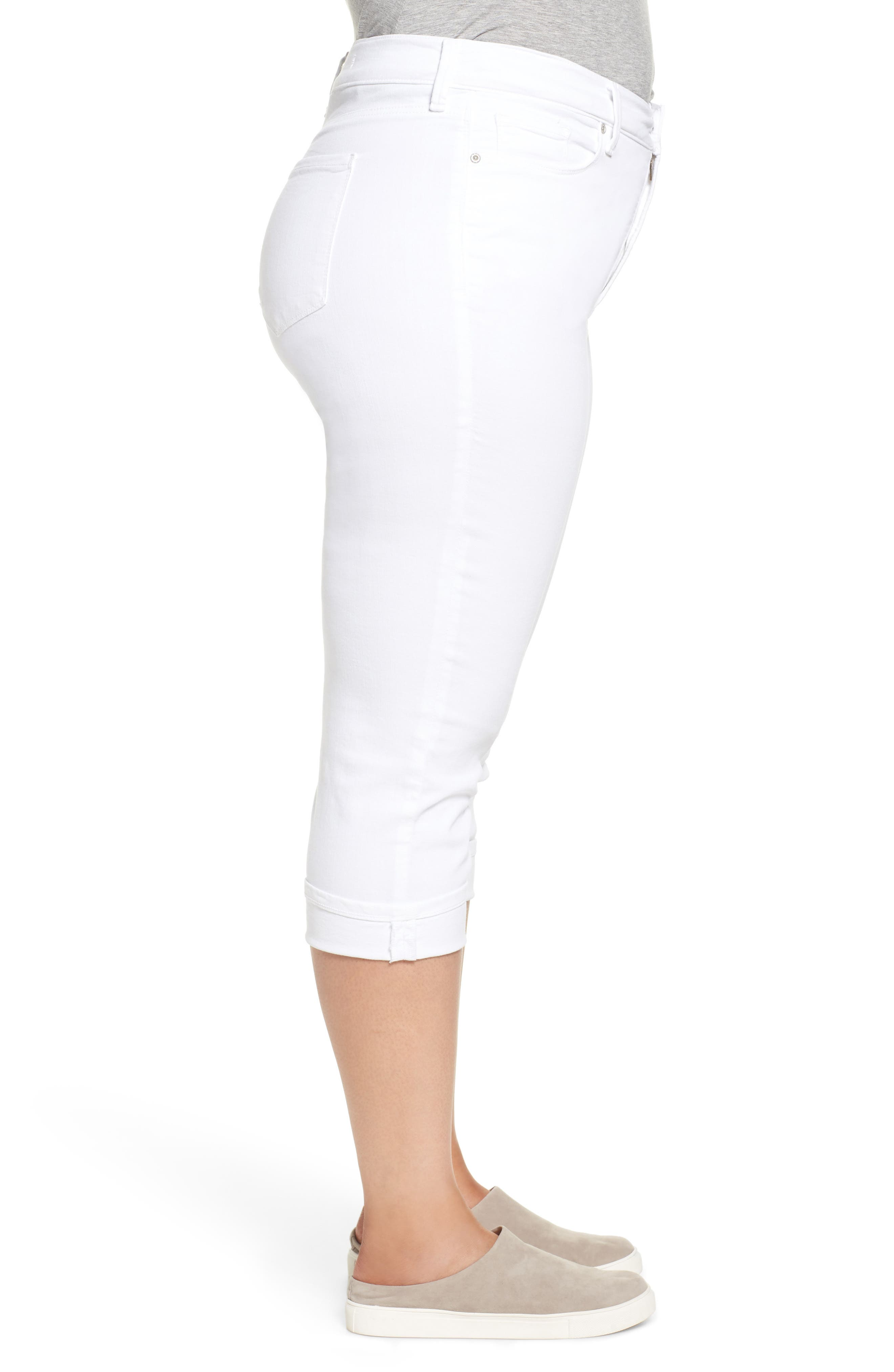 NYDJ, Marilyn Crop Cuff Jeans, Alternate thumbnail 4, color, WHITE