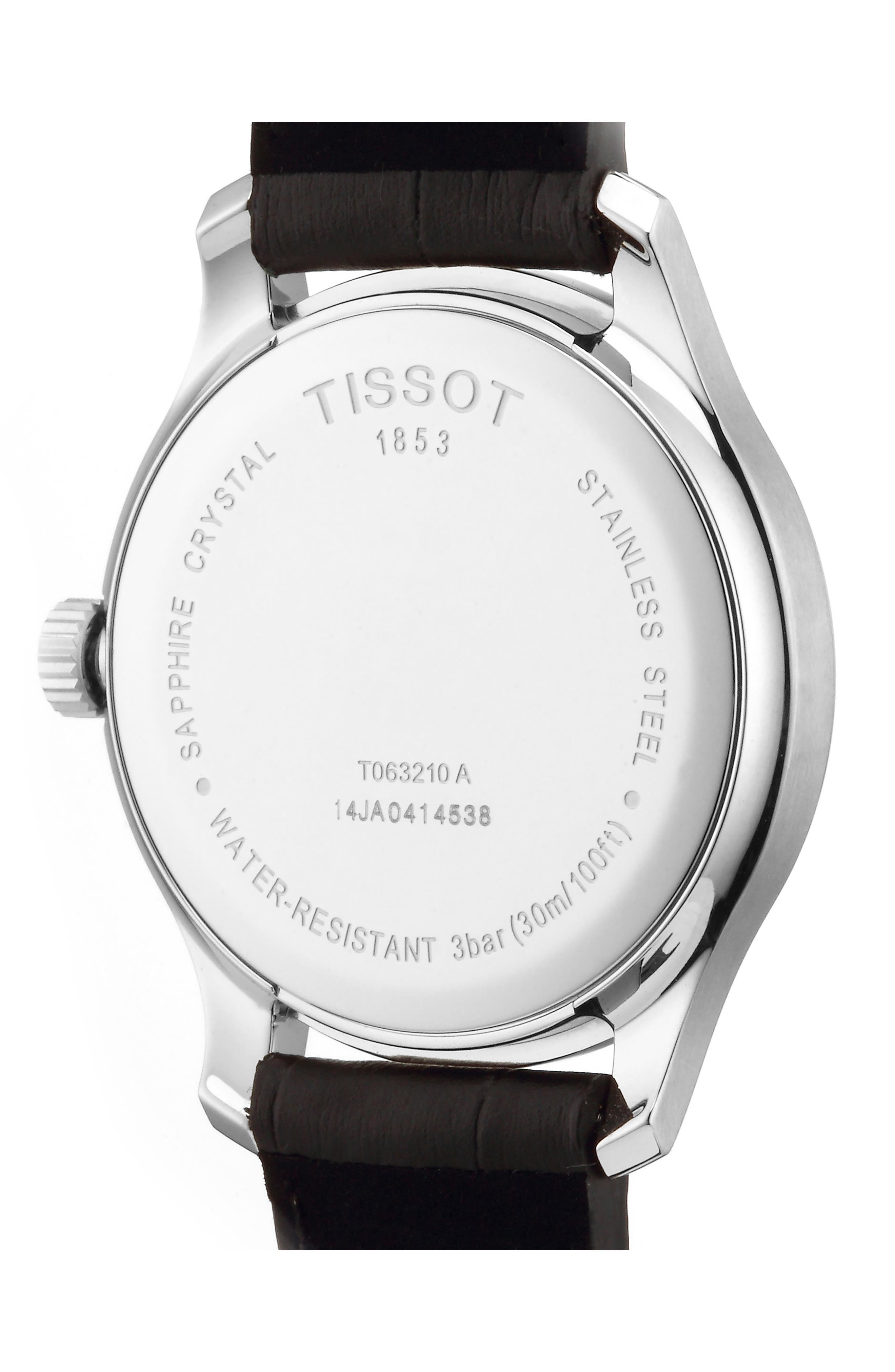 TISSOT, Tradition Leather Strap Watch, 42mm, Alternate thumbnail 2, color, BROWN/ SILVER
