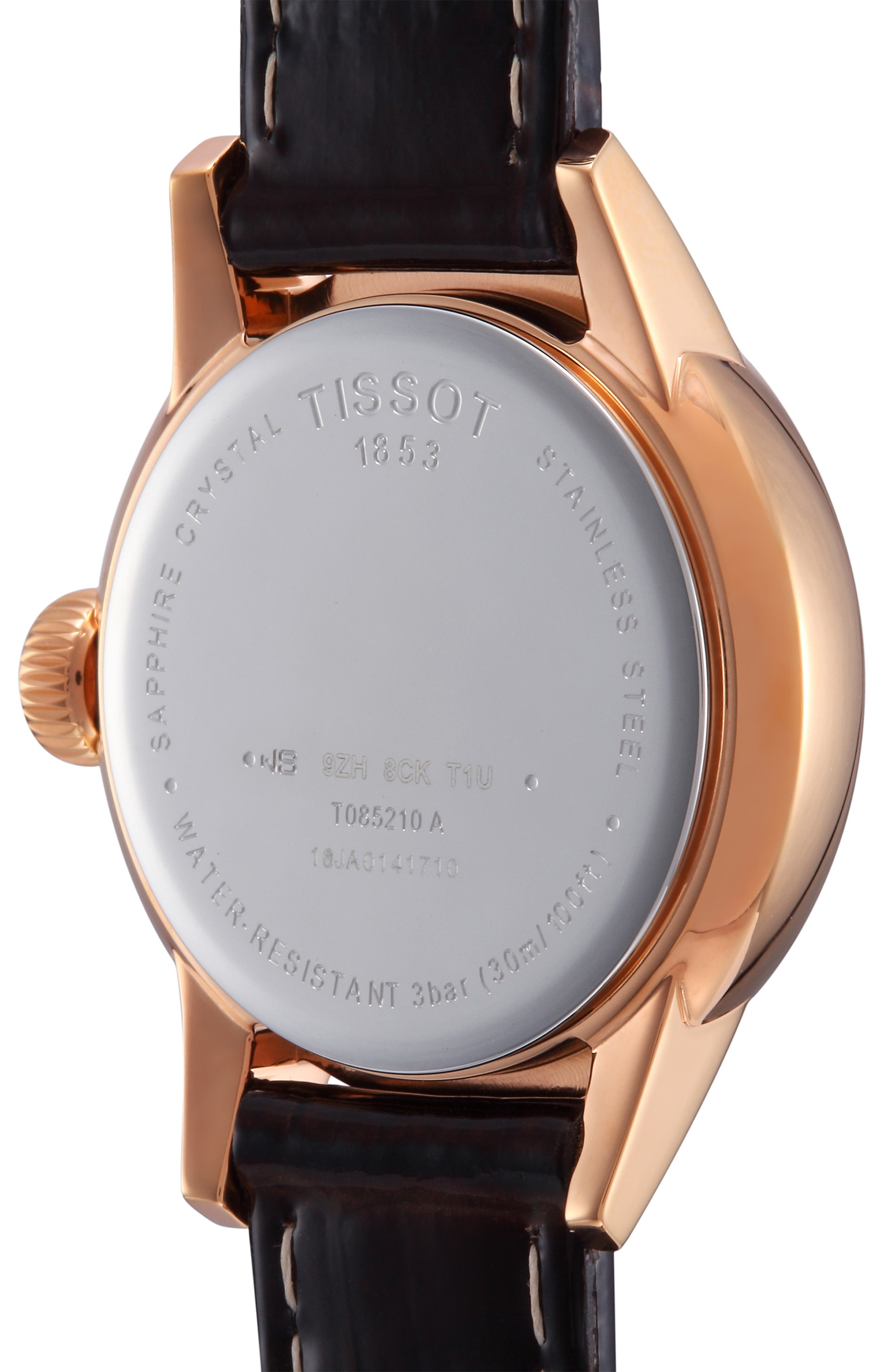 TISSOT, Carson Leather Strap Watch, 28mm, Alternate thumbnail 3, color, 201