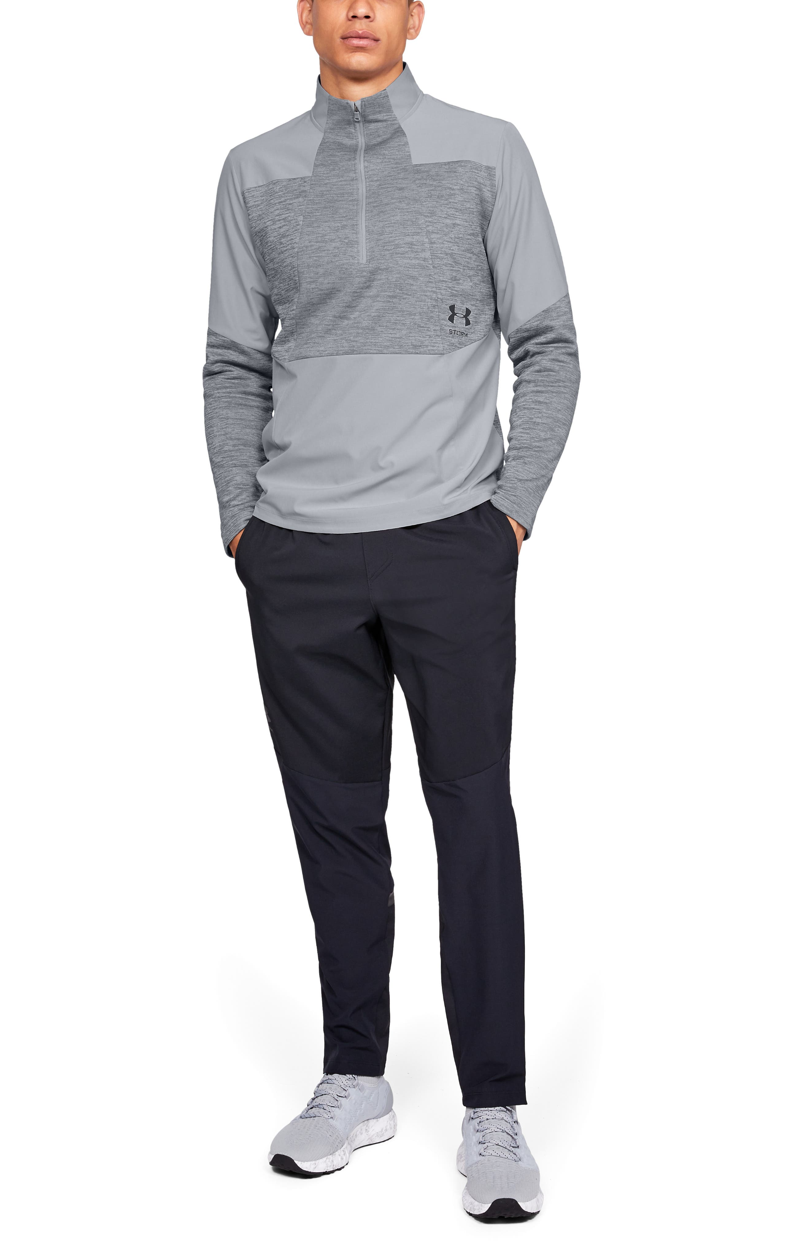 UNDER ARMOUR, Storm Cyclone Water Repellent Quarter Zip Pullover, Alternate thumbnail 5, color, OVERCAST GREY/ BLACK