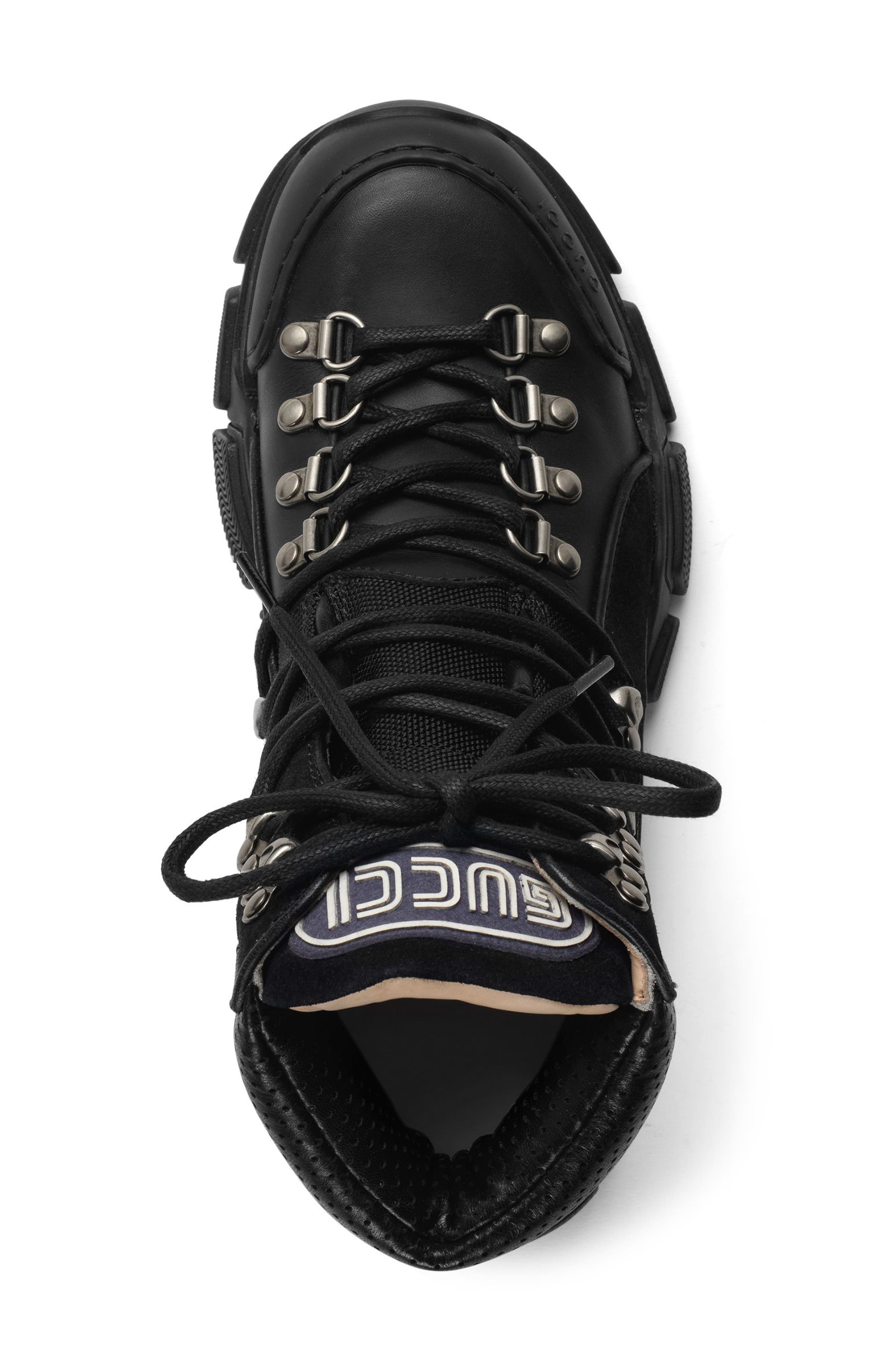GUCCI, Lace-Up Boot, Alternate thumbnail 4, color, BLACK