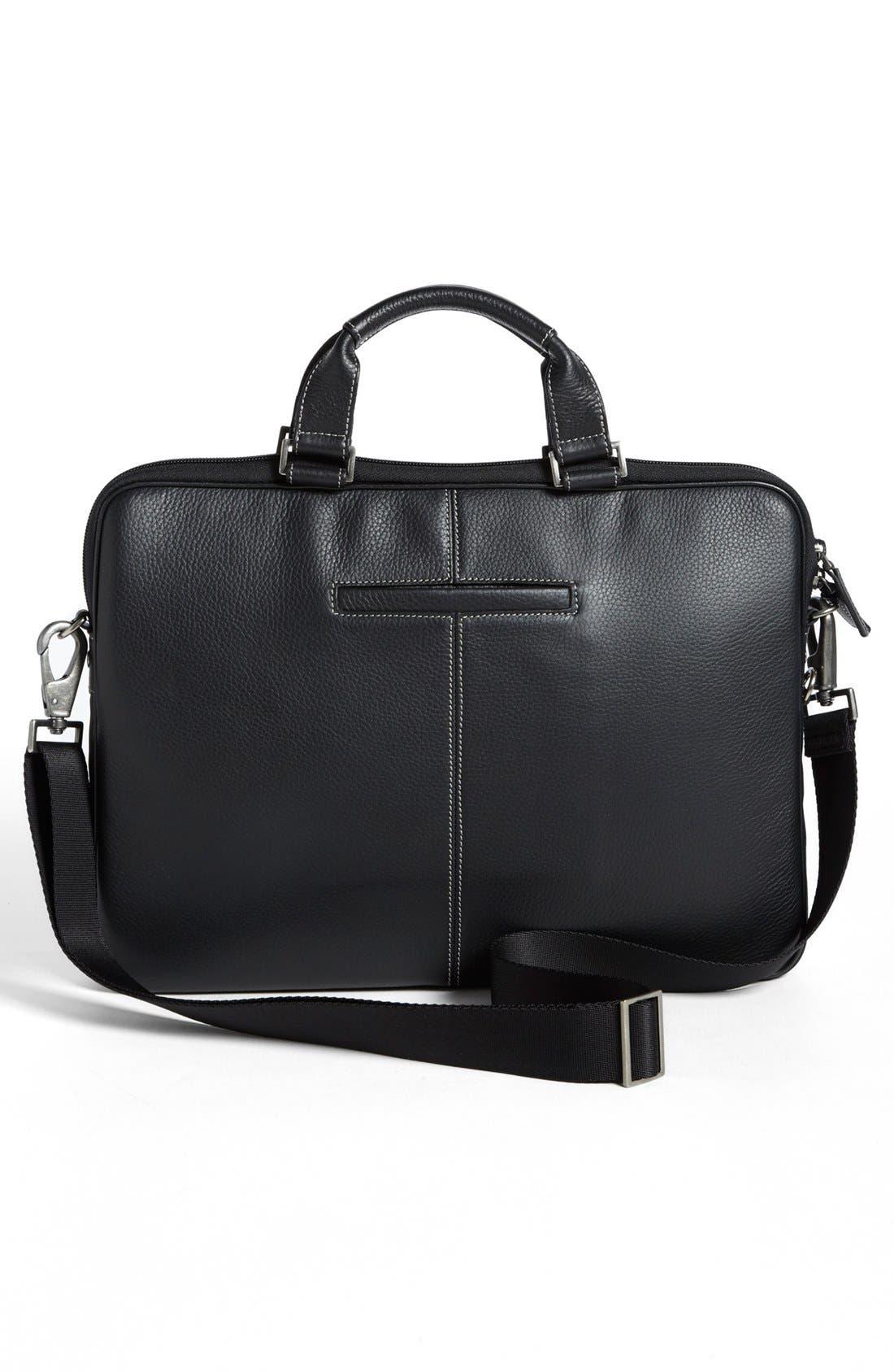 BOCONI, 'Tyler' Leather Laptop Briefcase, Alternate thumbnail 3, color, BLACK/ KHAKI