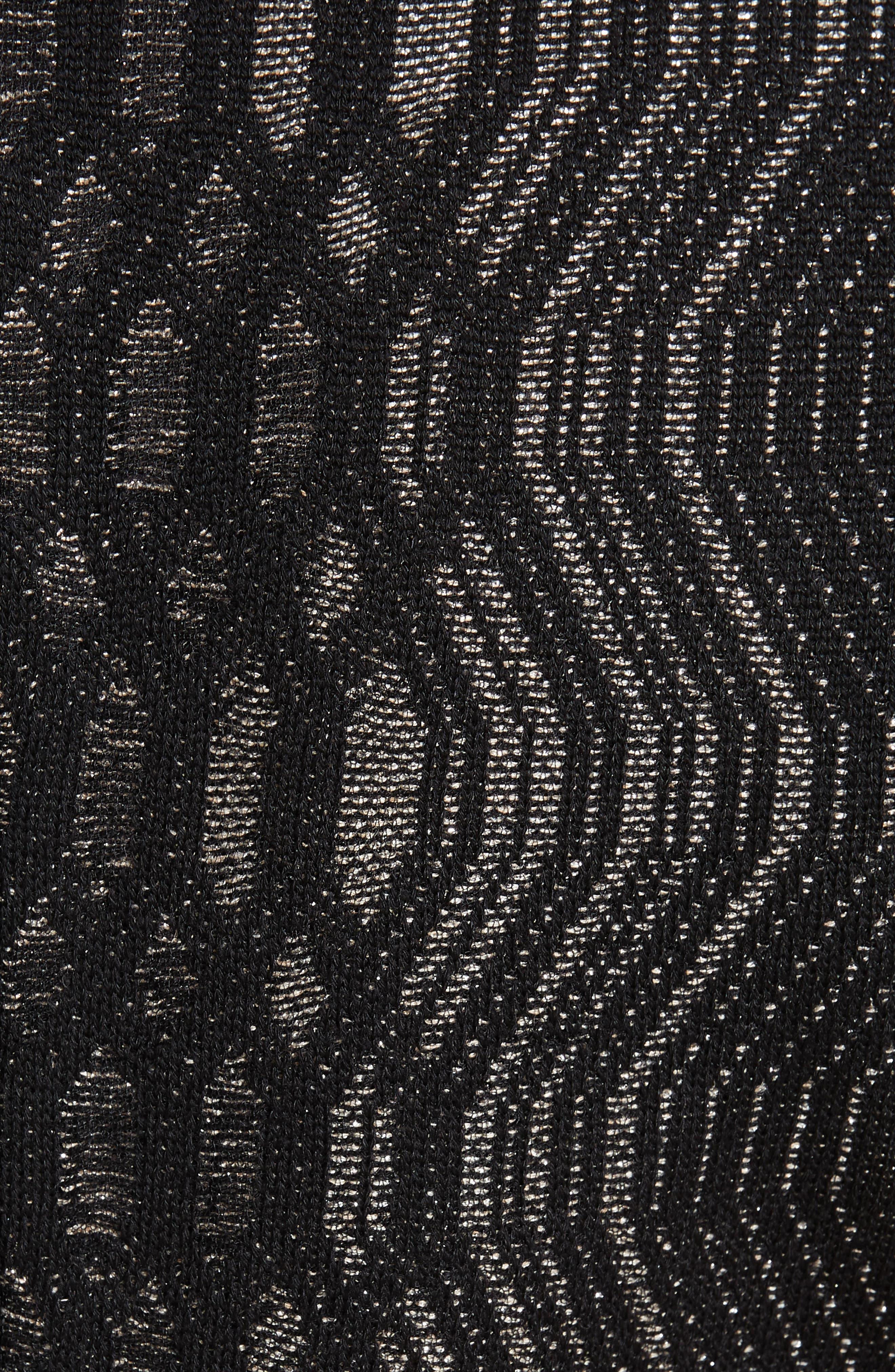 ST. JOHN COLLECTION, Illusion Jacquard Knit Dress, Alternate thumbnail 6, color, CAVIAR/ GOLD