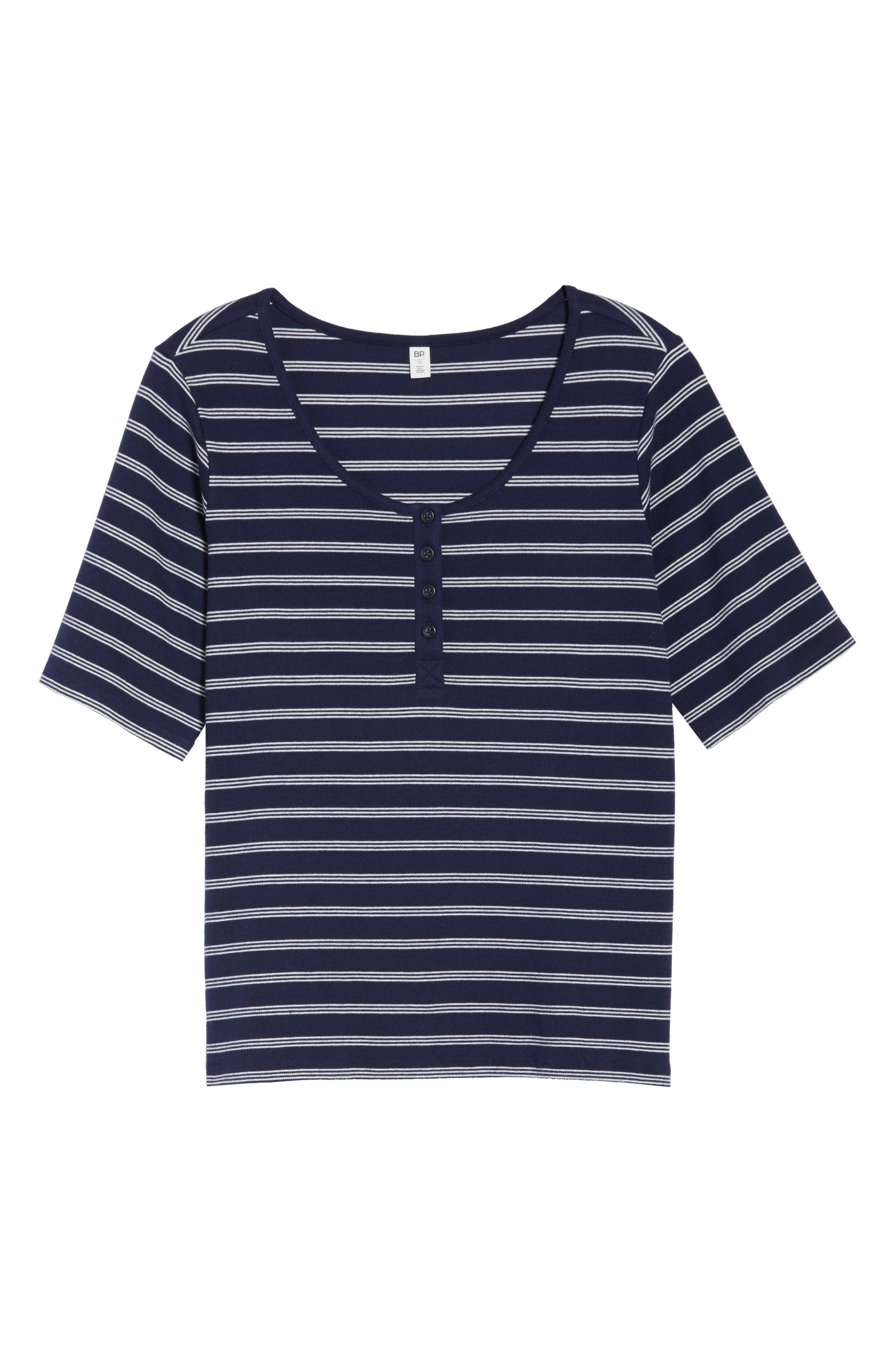 BP., Ribbed Henley Tee, Alternate thumbnail 12, color, NAVY EVENING NANTUCKET STRIPE