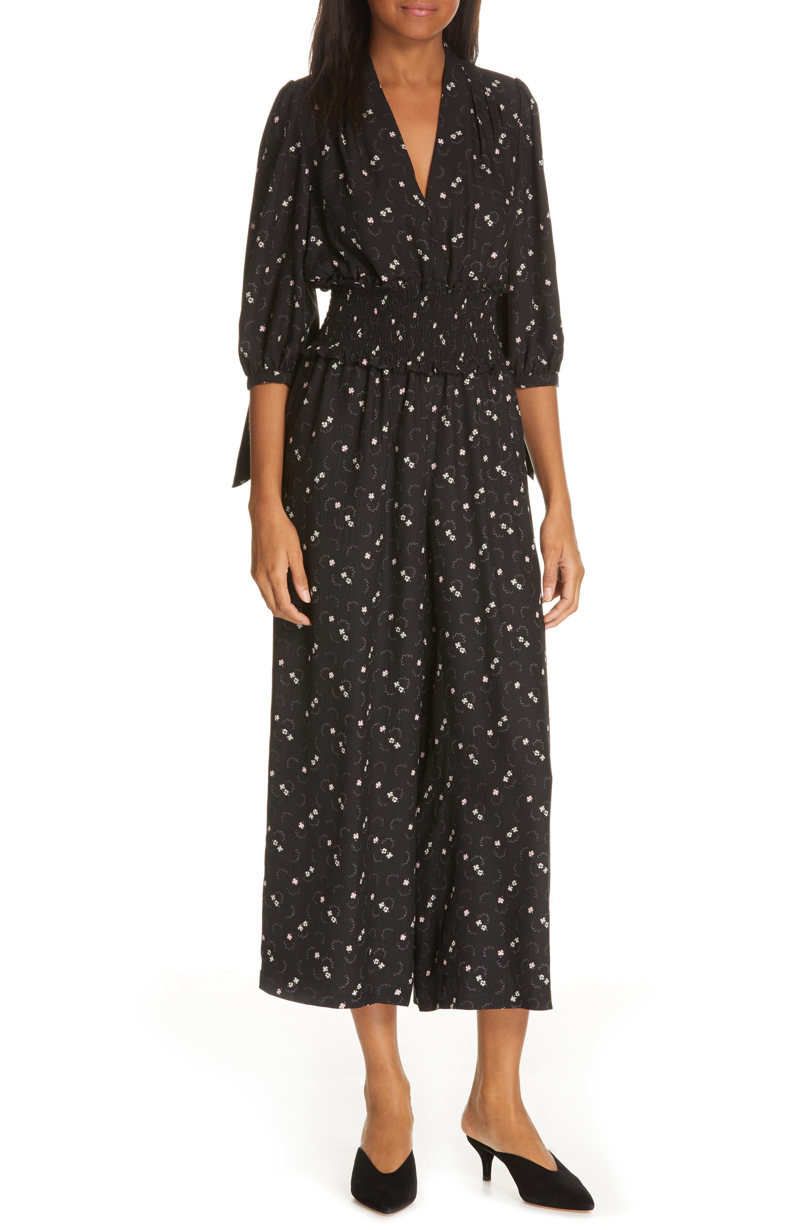 REBECCA TAYLOR Alisia Floral Jumpsuit, Main, color, BLACK COMBO