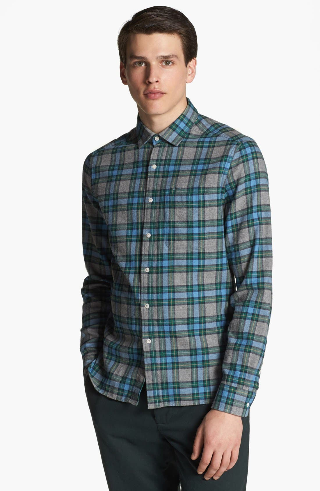 SHIPLEY & HALMOS, 'Marine' Plaid Woven Shirt, Main thumbnail 1, color, 020