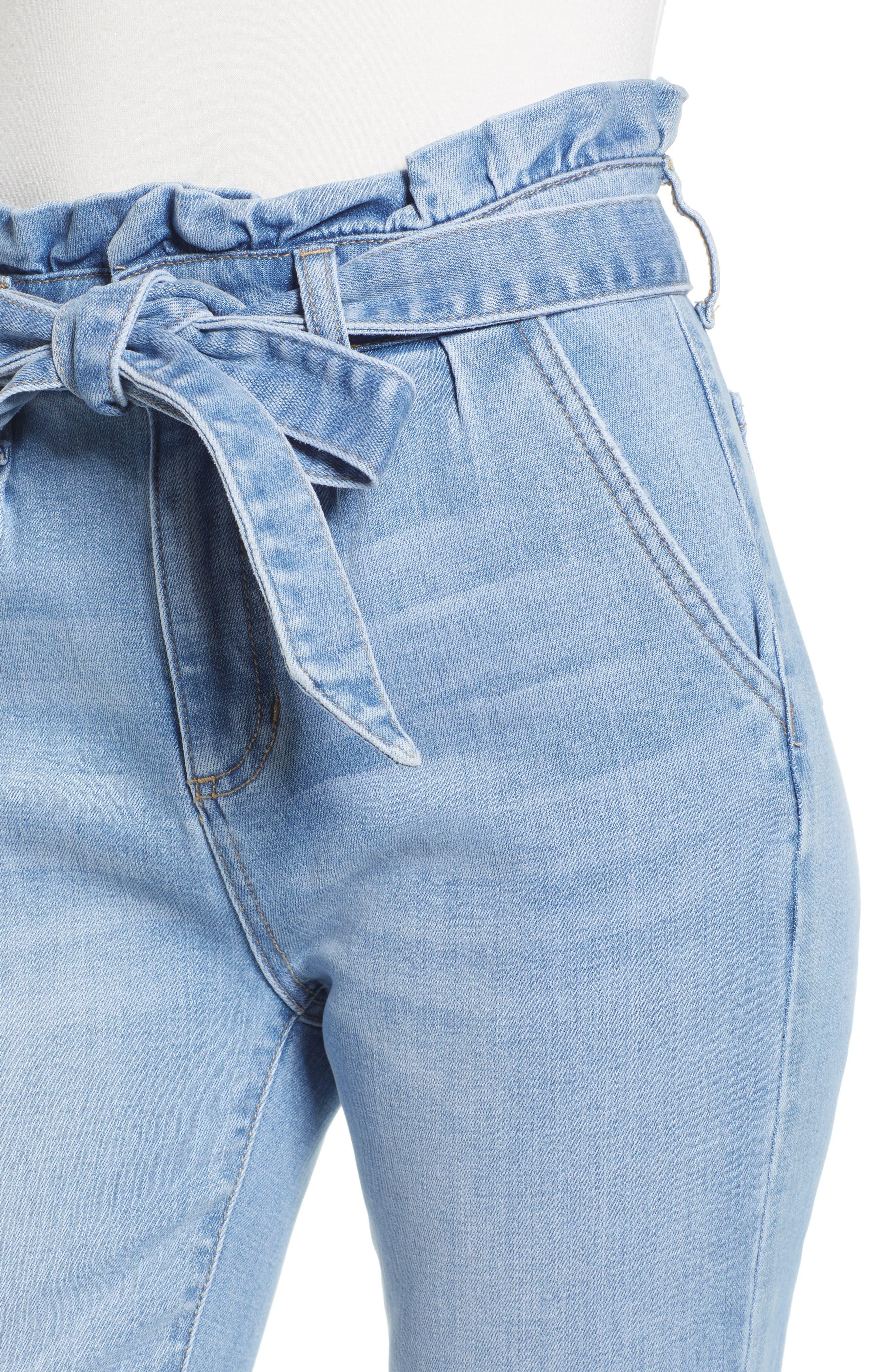 PROSPERITY DENIM, Paperbag Waist Skinny Jeans, Alternate thumbnail 5, color, MEDIUM WASH