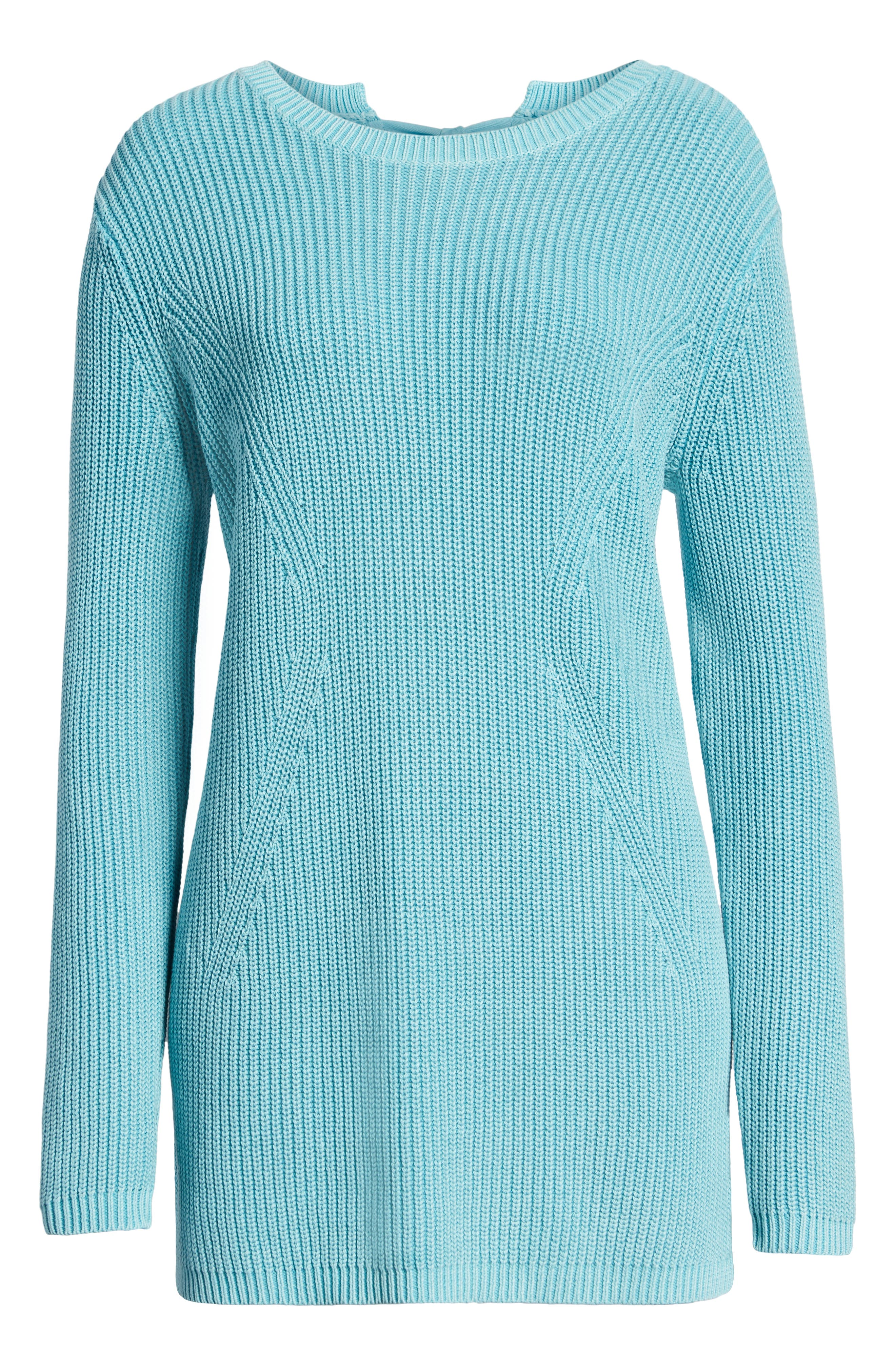 CASLON<SUP>®</SUP>, Tie Back Tunic Sweater, Alternate thumbnail 6, color, BLUE MAUI