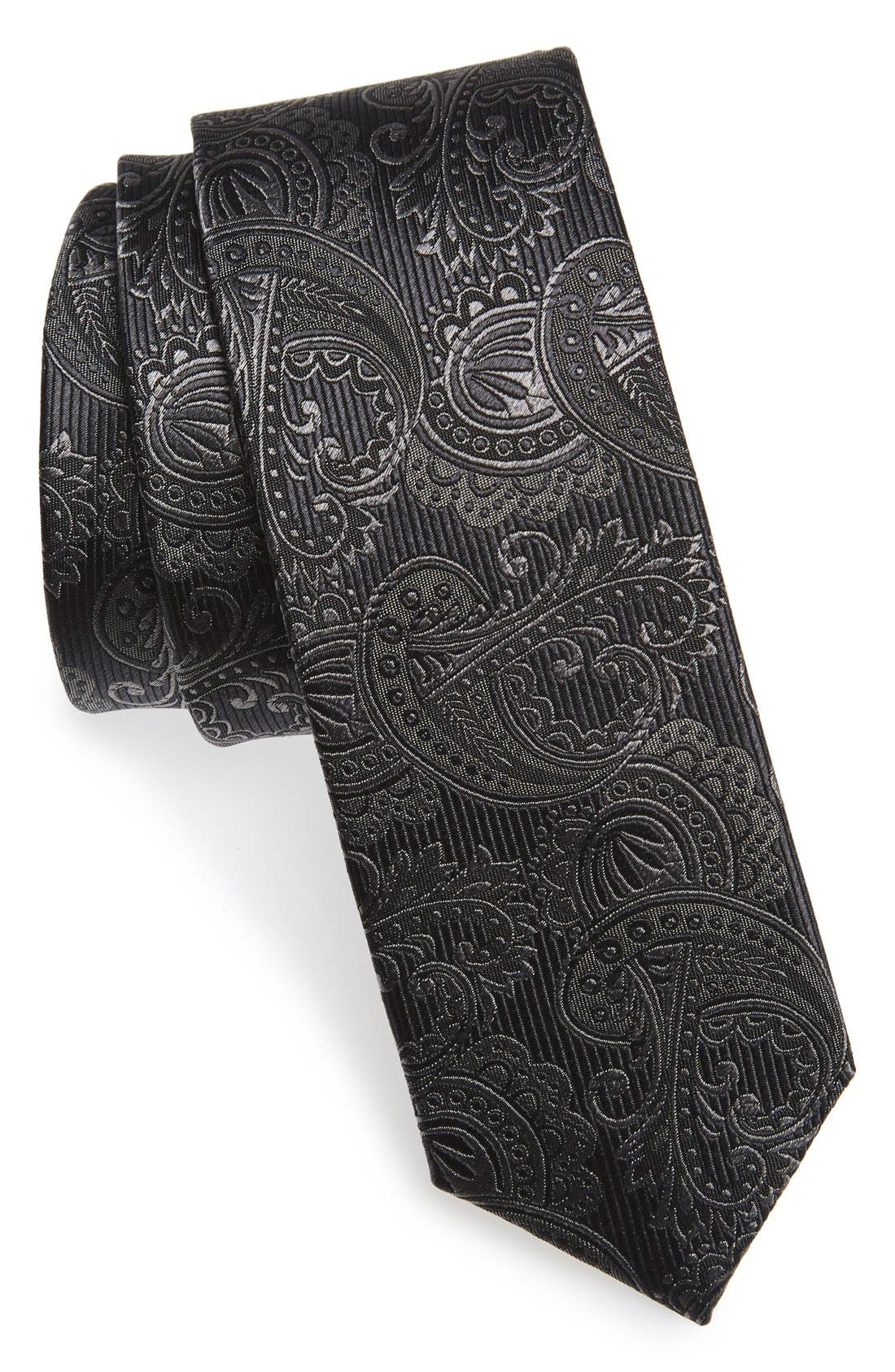 THE TIE BAR Textured Paisley Silk Tie, Main, color, CHARCOAL