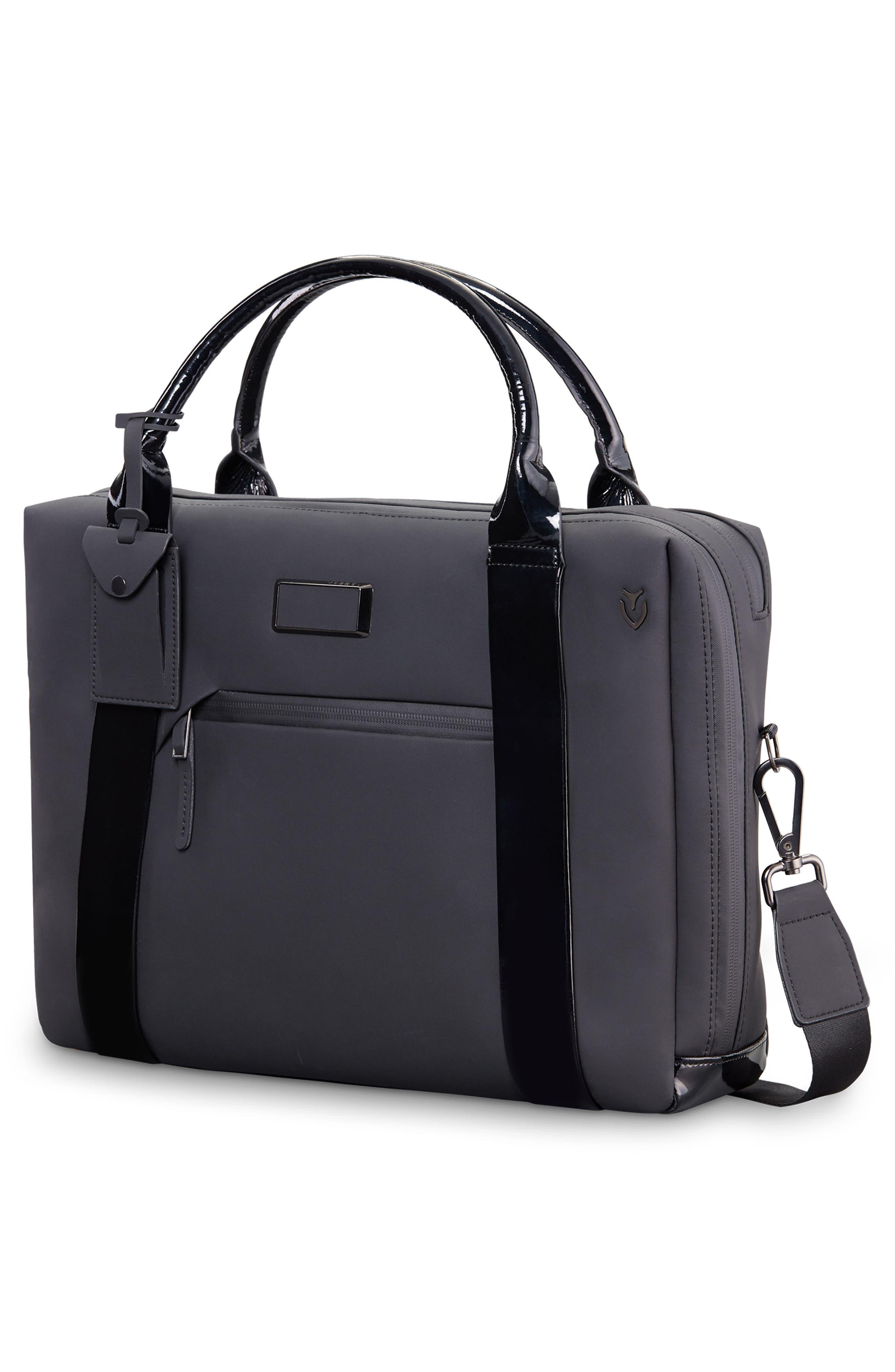 VESSEL, Signature 2.0 Faux Leather Briefcase, Alternate thumbnail 4, color, MATTE/ PATENT BLACK