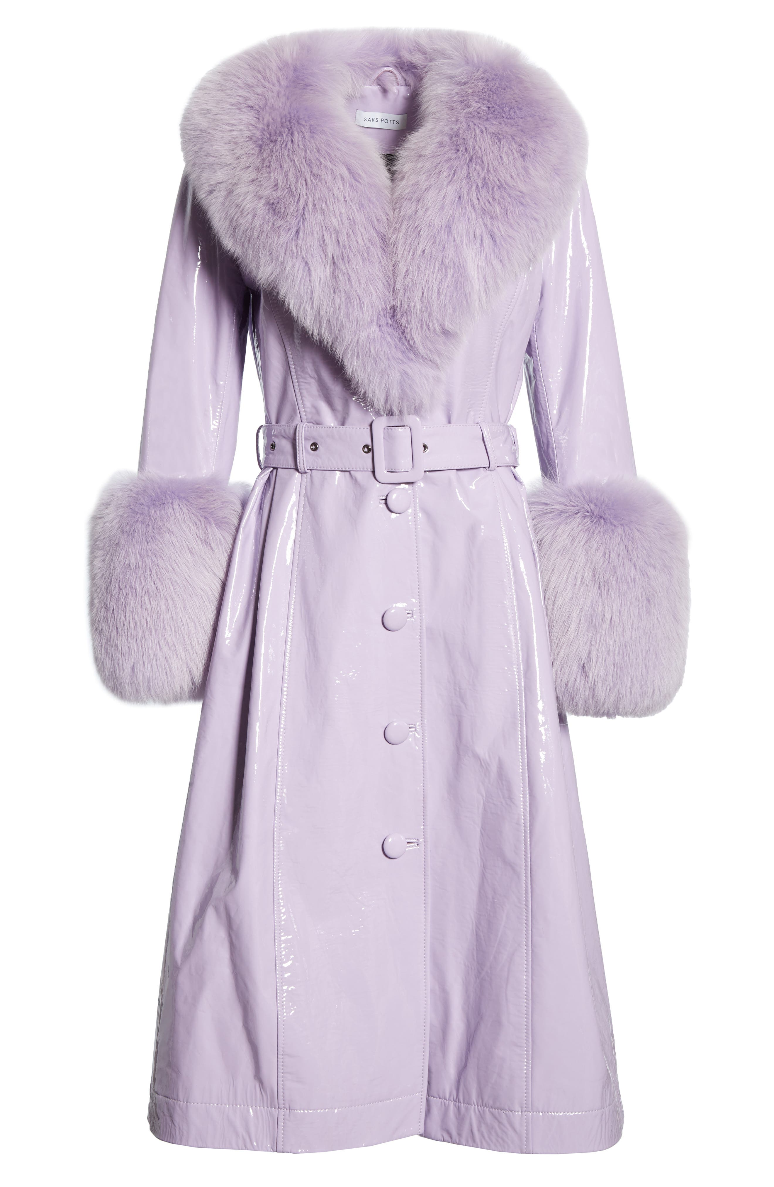 SAKS POTTS, Patent Leather Coat with Genuine Fox Fur Trim, Alternate thumbnail 6, color, LAVENDER