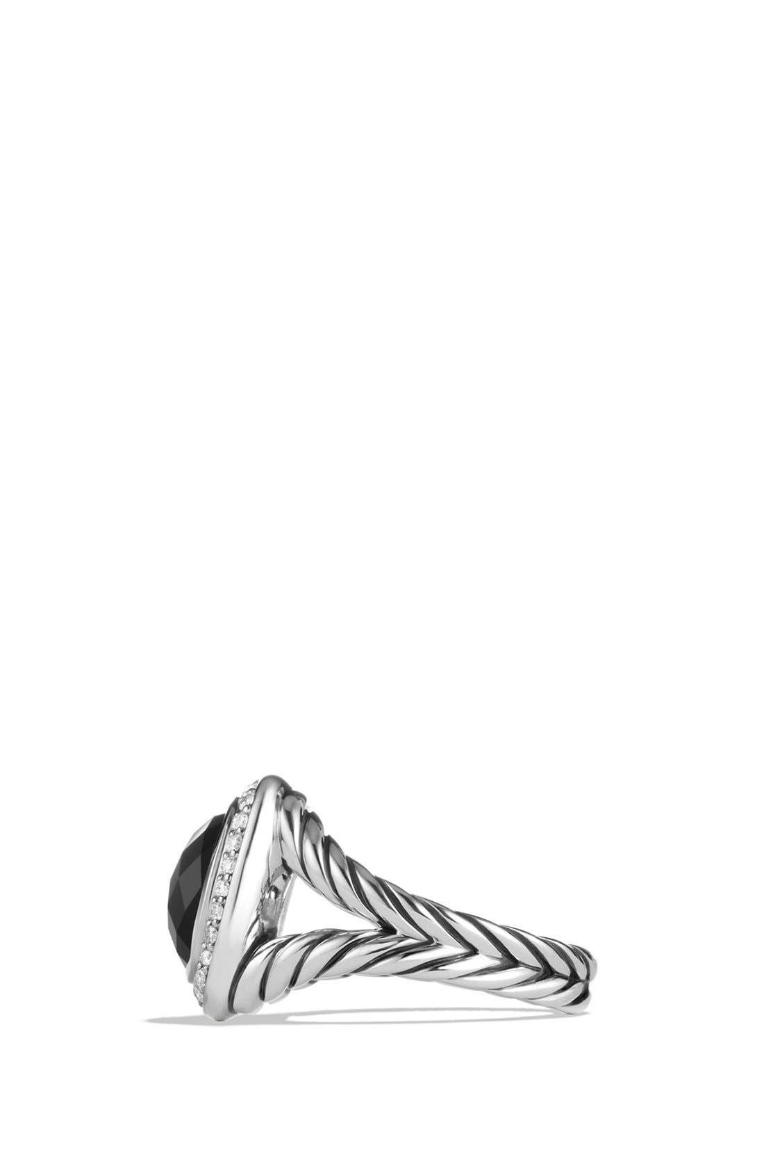 DAVID YURMAN, 'Albion' Ring with Semiprecious Stone and Diamonds, Alternate thumbnail 4, color, BLACK ONYX