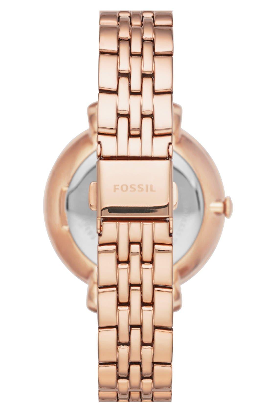 FOSSIL, 'Jacqueline' Crystal Bezel Bracelet Watch, 36mm, Alternate thumbnail 3, color, ROSE GOLD