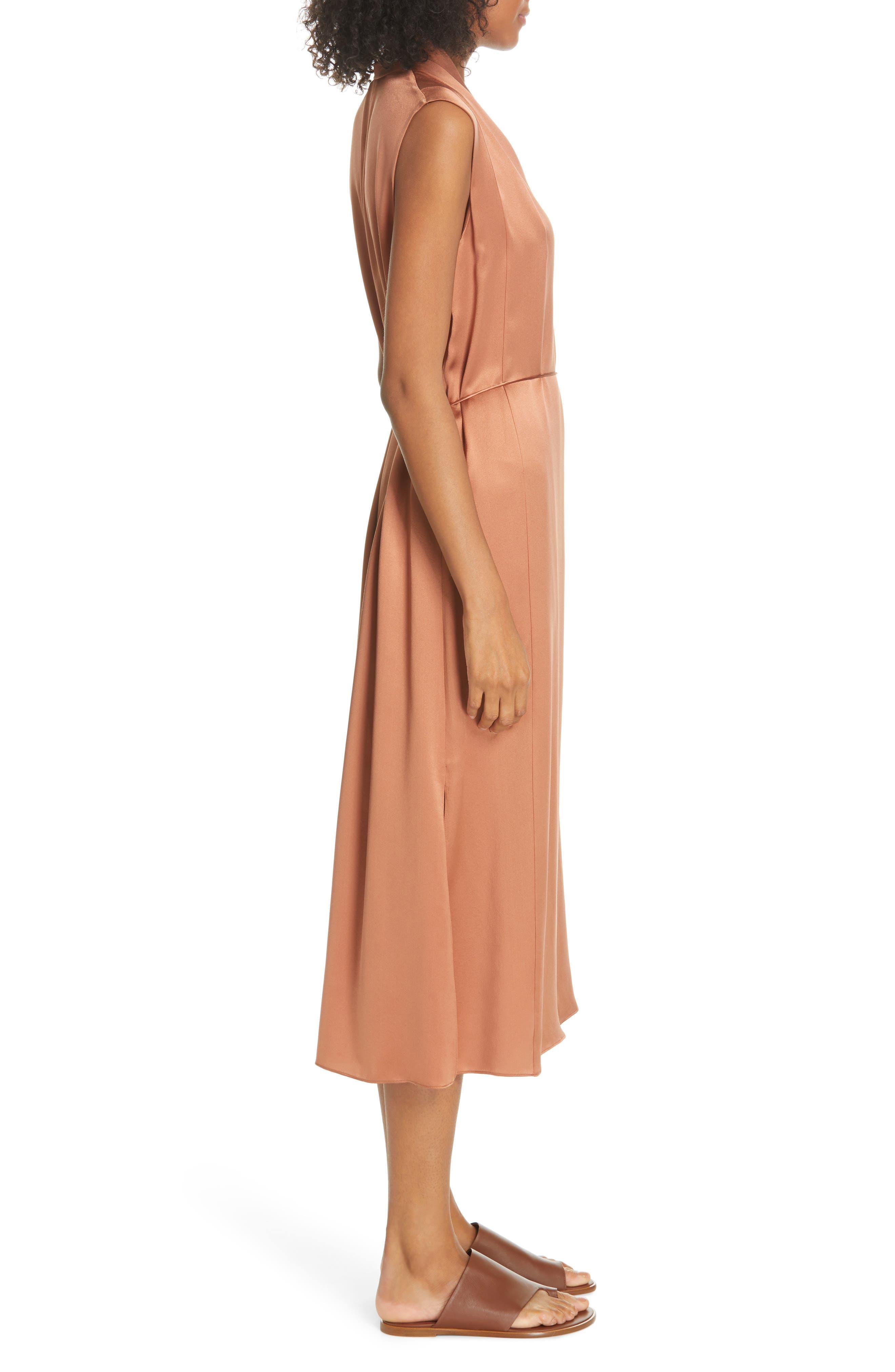 VINCE, Midi Silk Dress, Alternate thumbnail 4, color, CLIFF EMBER