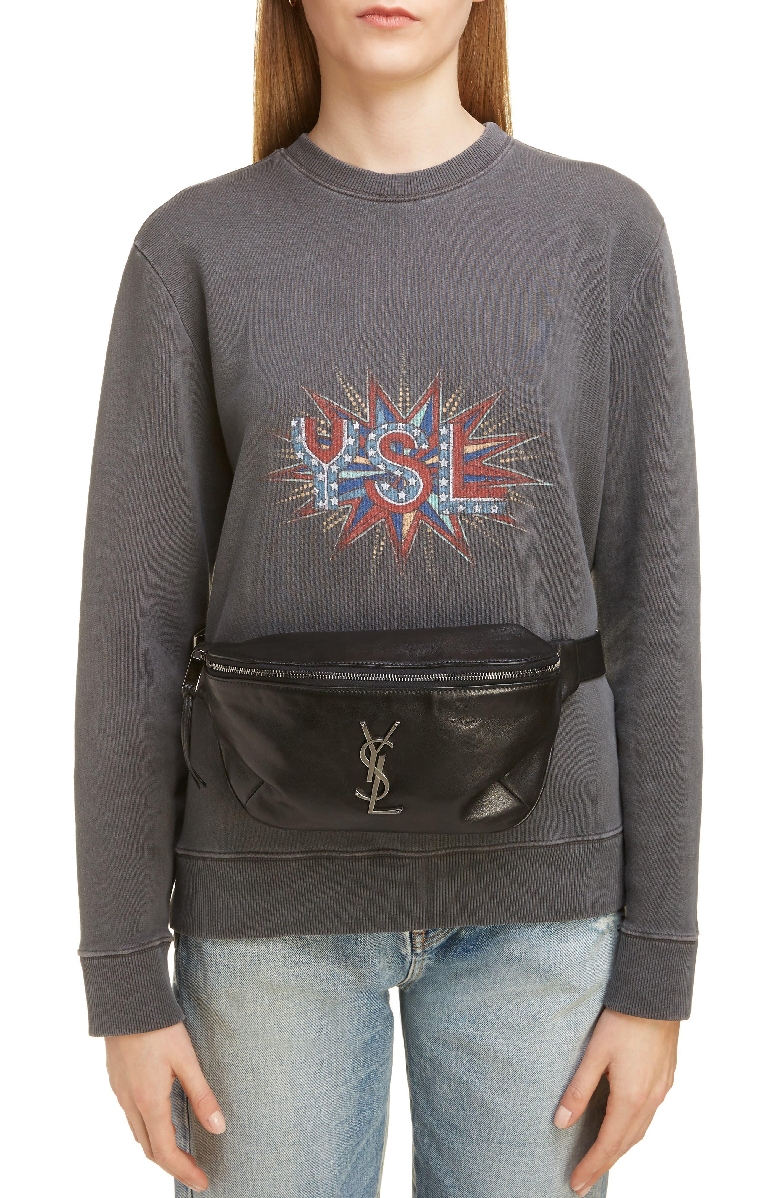 SAINT LAURENT Leather Belt Bag, Main, color, NOIR