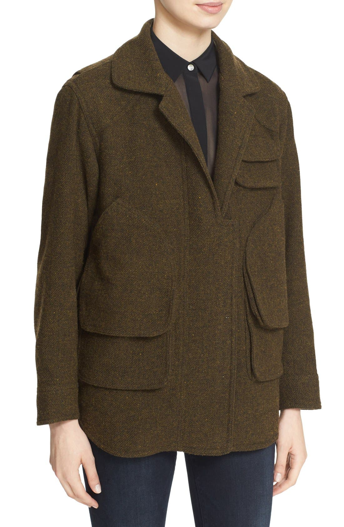 SMYTHE, 'Flak' Wool Blend Jacket with Removable Faux Fur Collar, Alternate thumbnail 2, color, 300