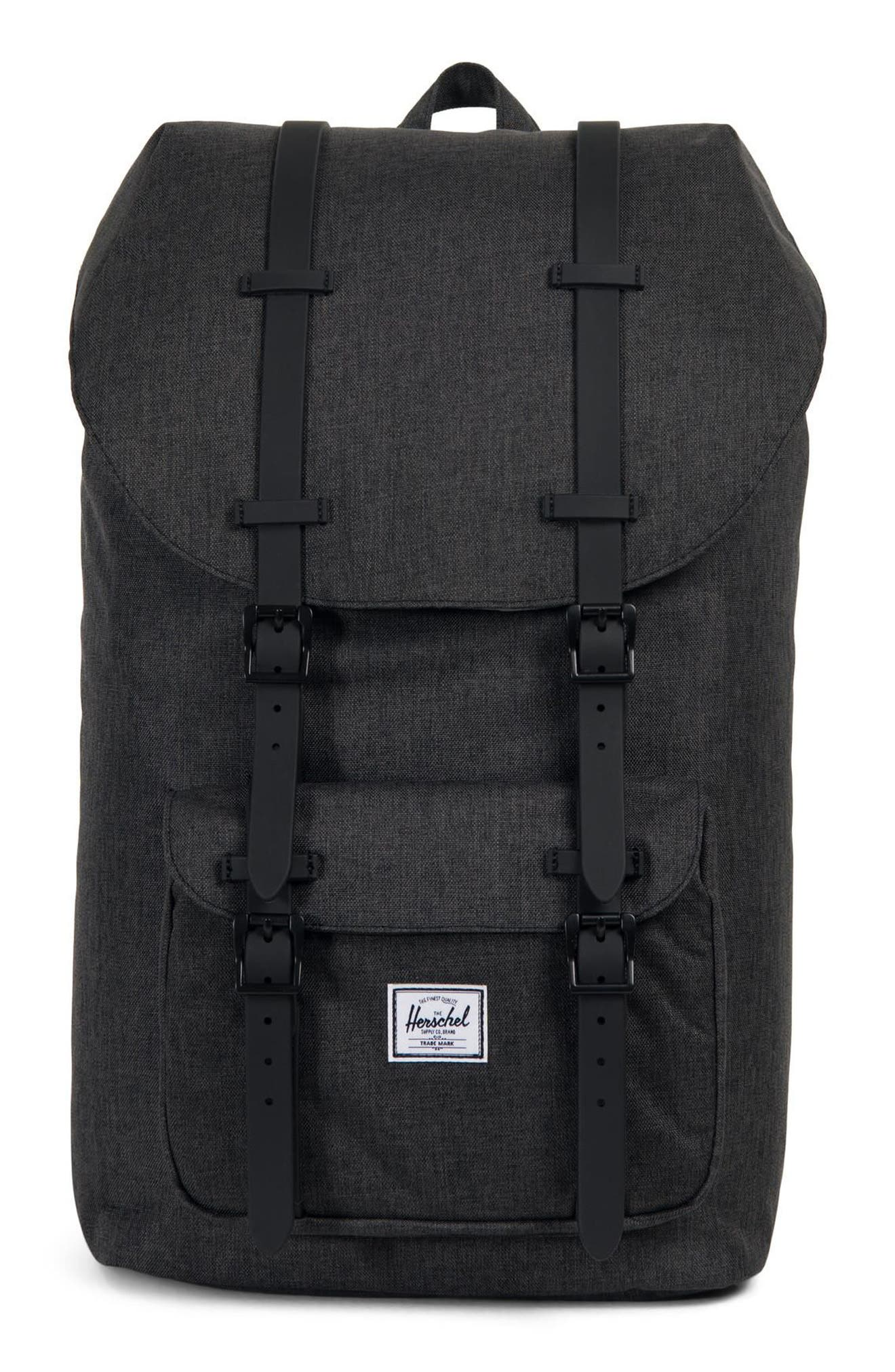 HERSCHEL SUPPLY CO., Little America Backpack, Main thumbnail 1, color, BLACK CROSSHATCH/ BLACK RUBBER