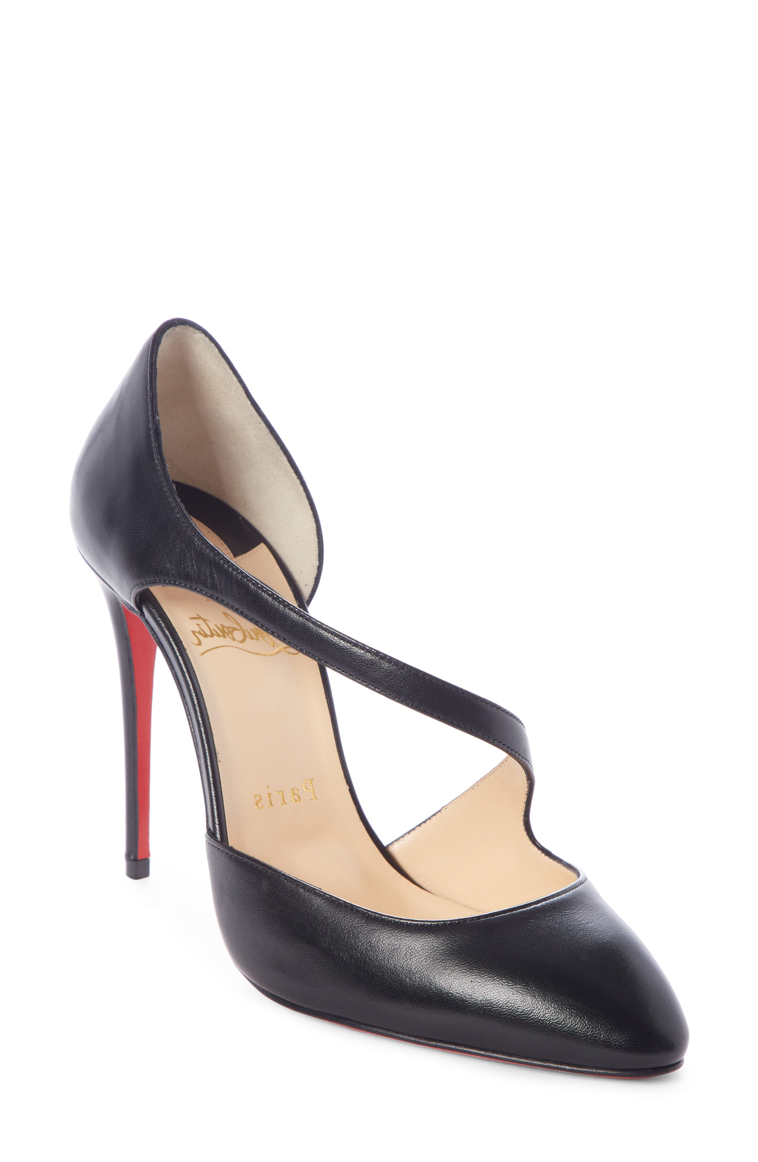 CHRISTIAN LOUBOUTIN, Catchy One Strappy d'Orsay Pump, Main thumbnail 1, color, BLACK