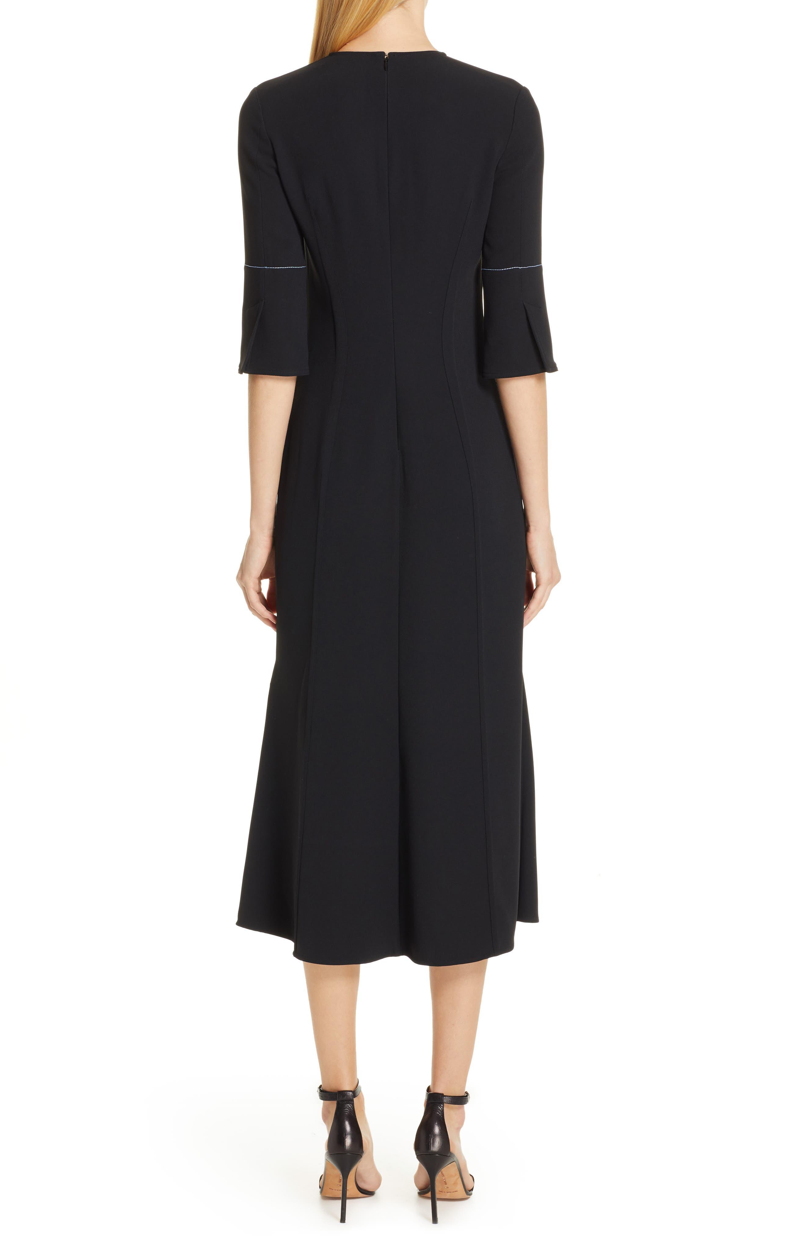VICTORIA BECKHAM, Contrast Stitch Crepe Dress, Alternate thumbnail 2, color, BLACK