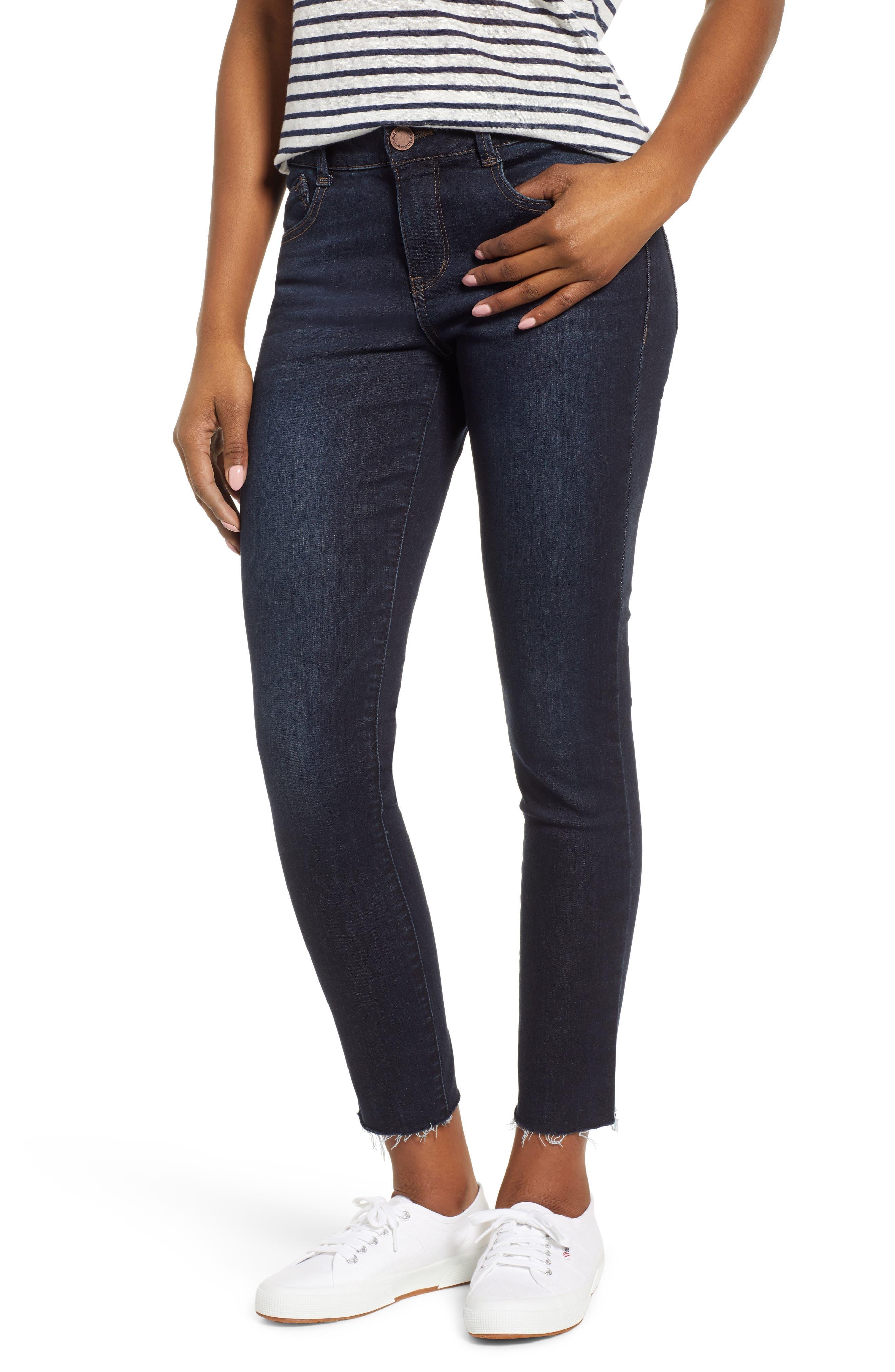 WIT & WISDOM, Ab-Solution Raw Hem Skinny Jeans, Main thumbnail 1, color, INDIGO