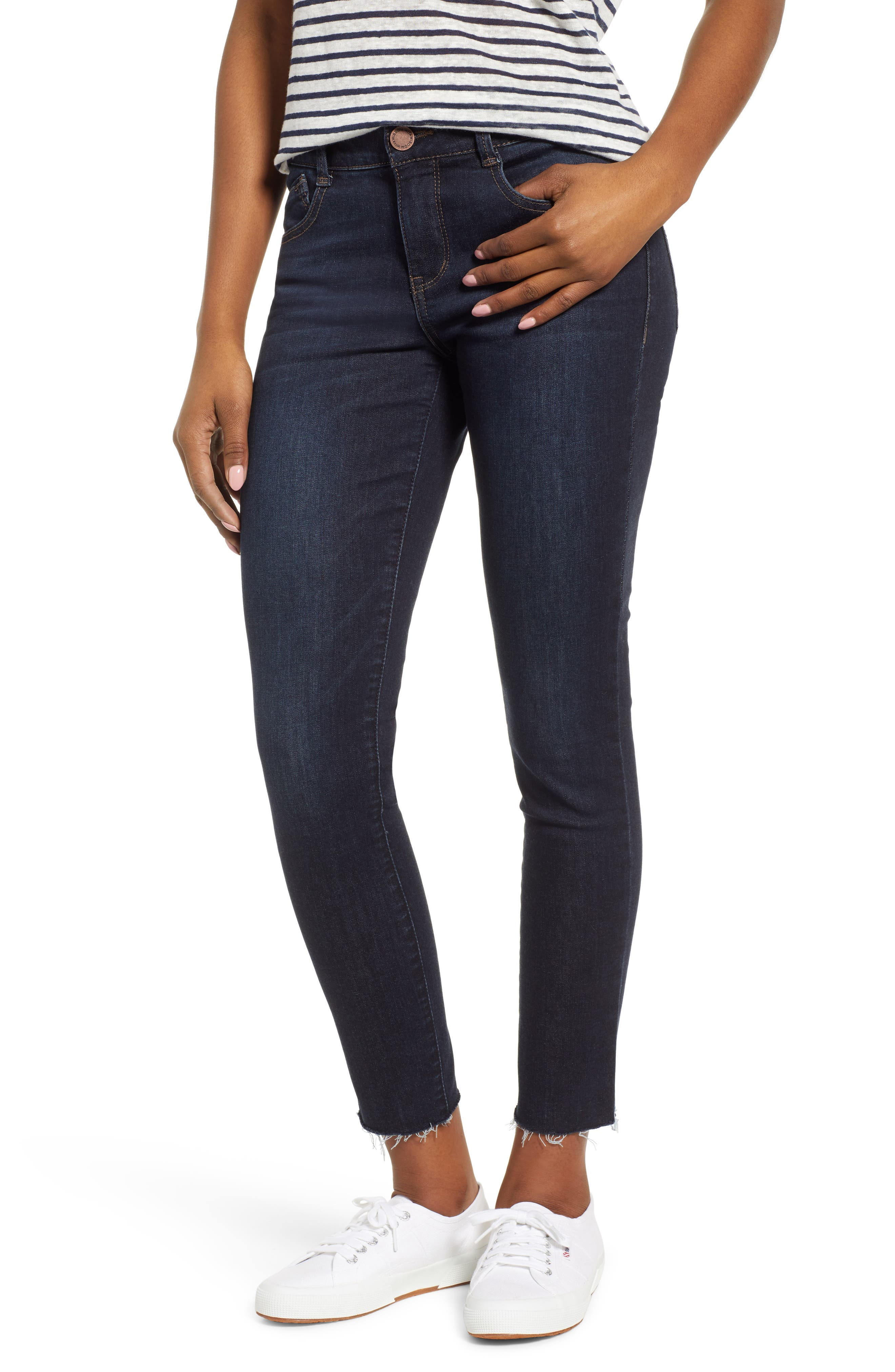 WIT & WISDOM Ab-Solution Raw Hem Skinny Jeans, Main, color, INDIGO