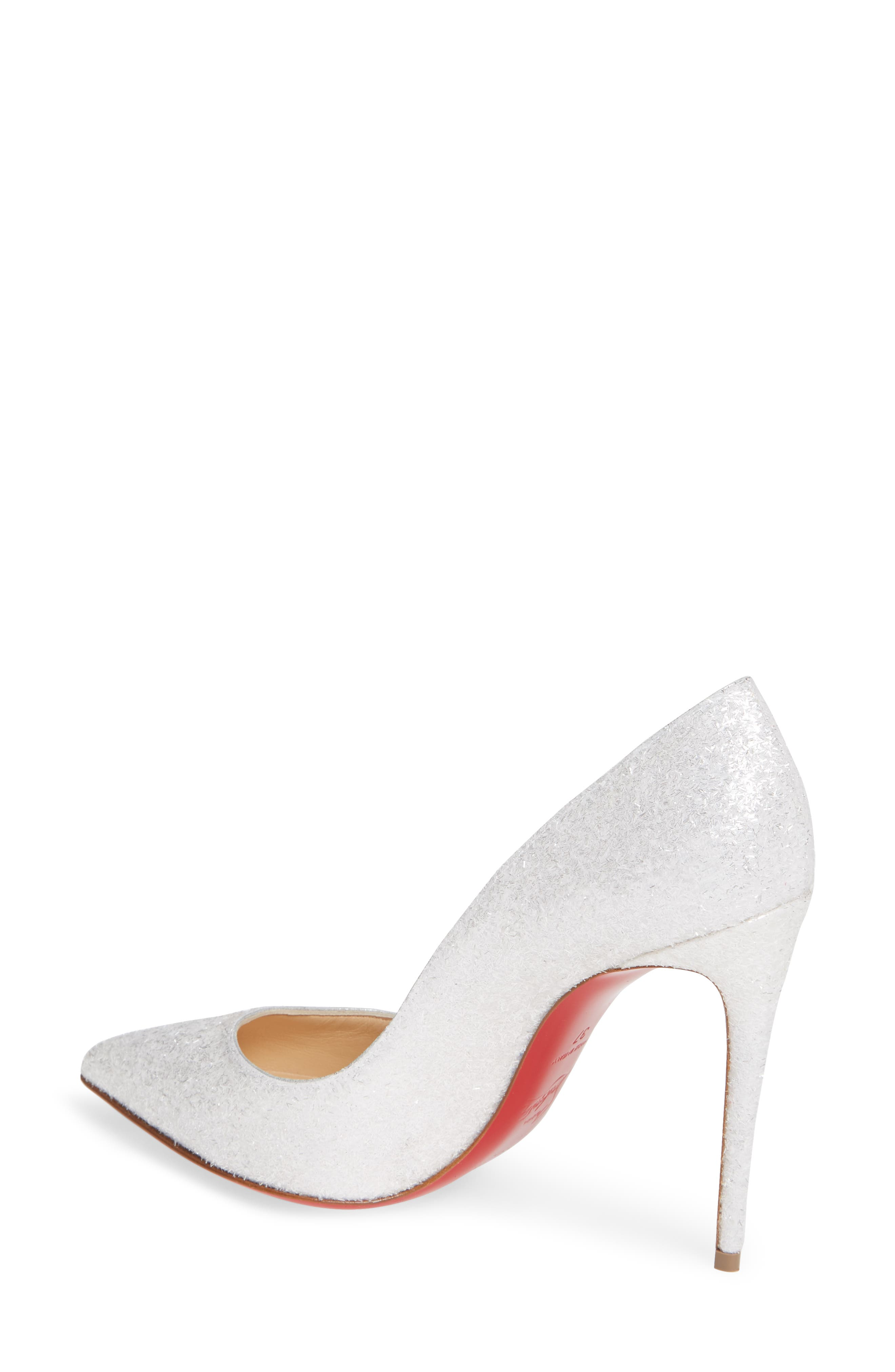 CHRISTIAN LOUBOUTIN, Pigalle Follies Pointy Toe Pump, Alternate thumbnail 2, color, WHITE GLITTER