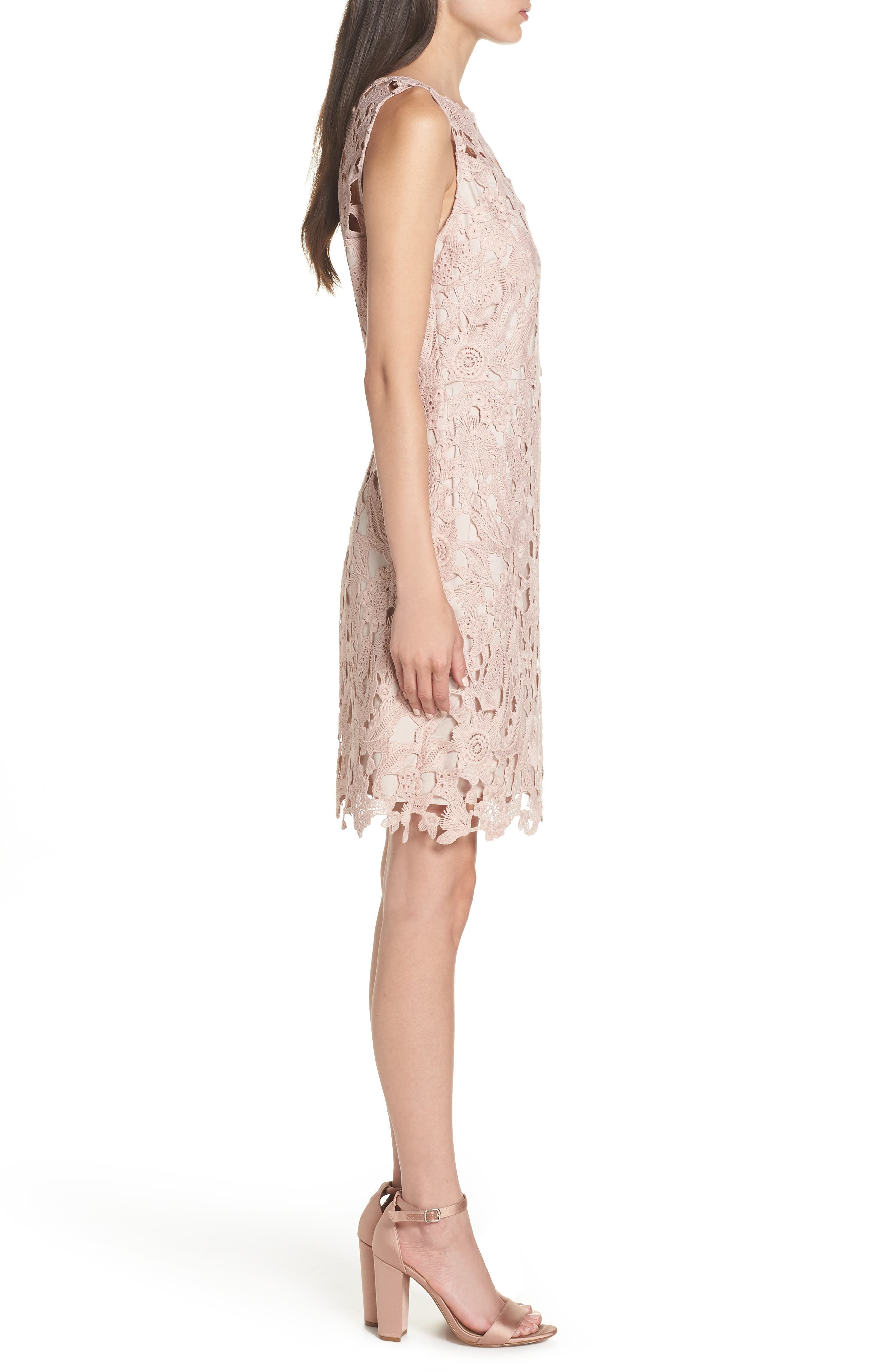 SAM EDELMAN, Lace Sheath Dress, Alternate thumbnail 4, color, BLUSH