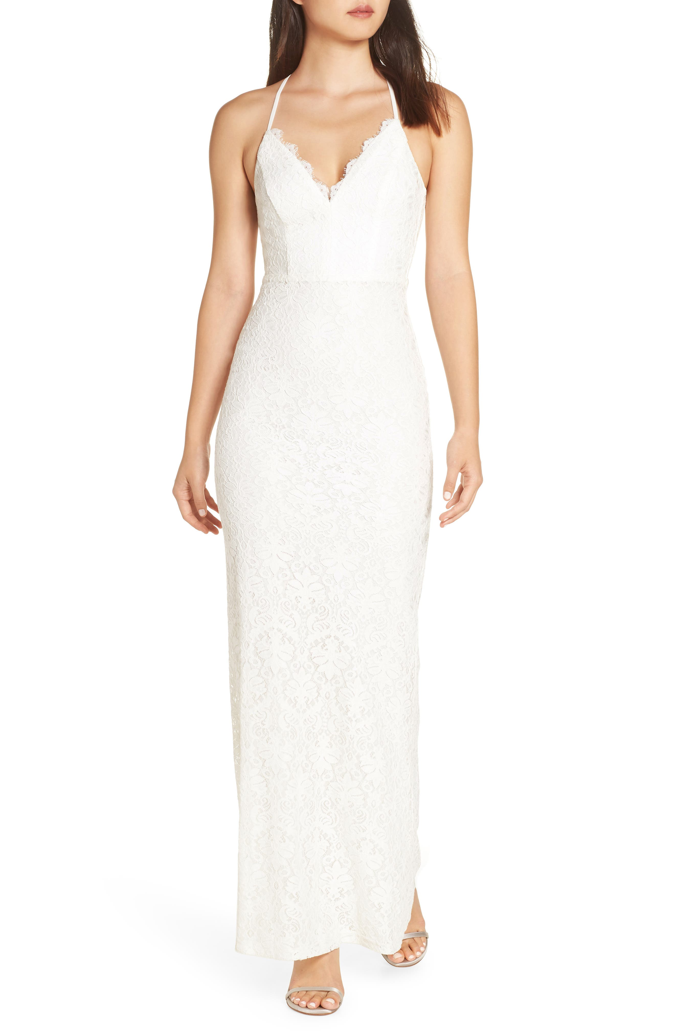 LULUS Alice Crisscross Back Gown, Main, color, WHITE/ WHITE