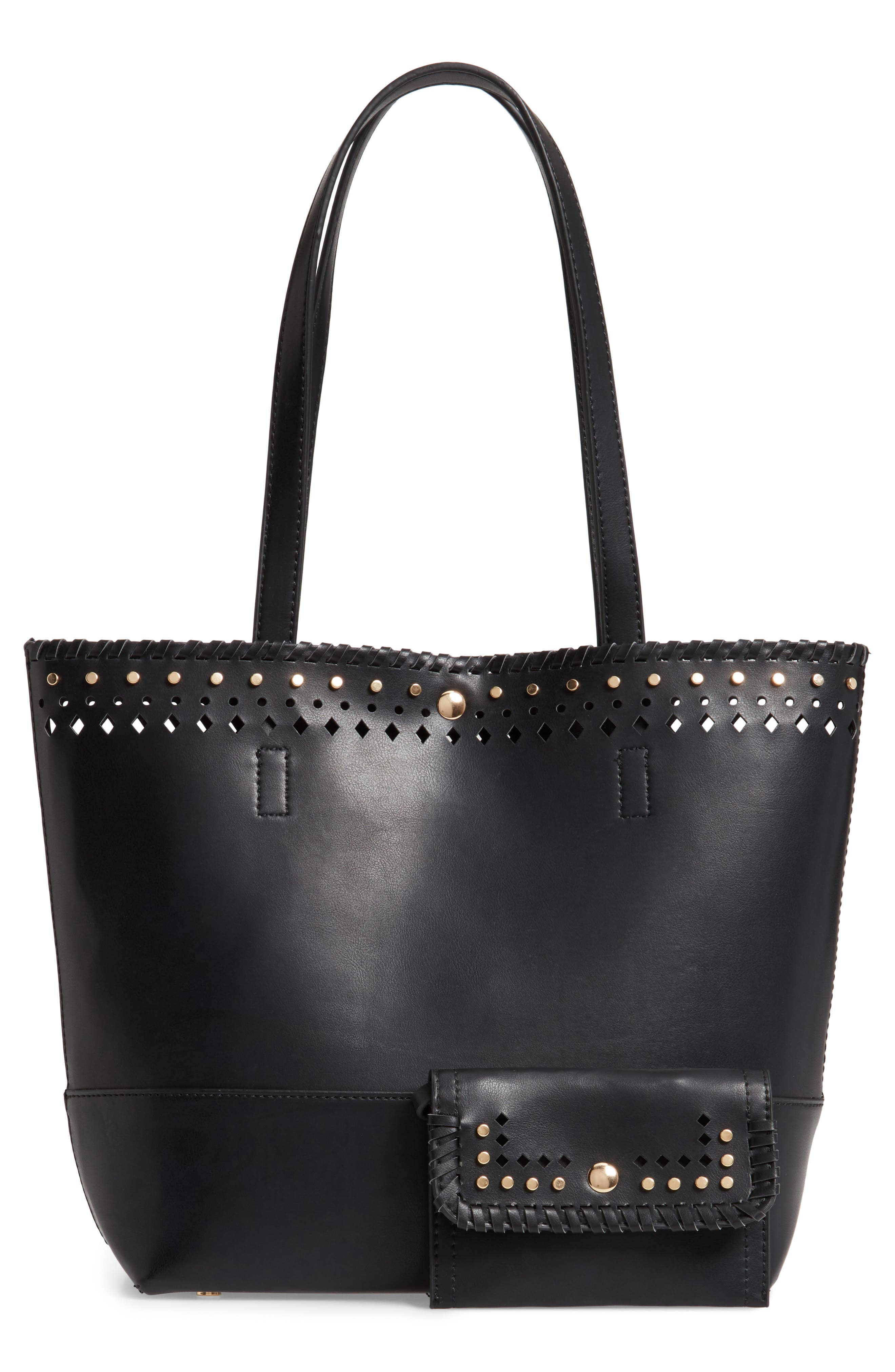 SOLE SOCIETY, Ivah Mini Faux Leather Tote, Alternate thumbnail 3, color, BLACK