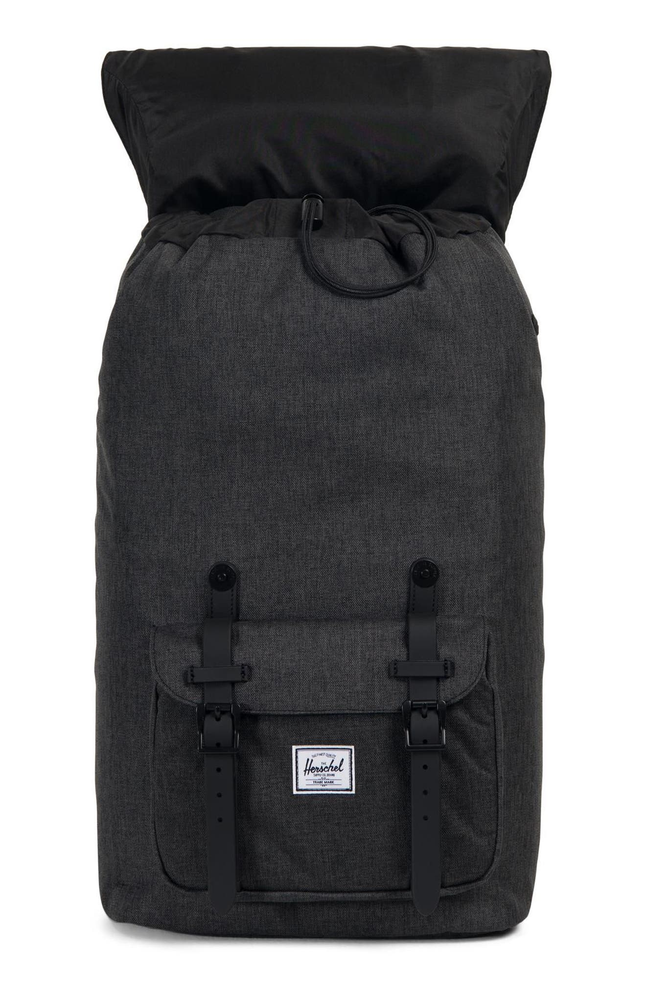 HERSCHEL SUPPLY CO., Little America Backpack, Alternate thumbnail 5, color, BLACK CROSSHATCH/ BLACK RUBBER