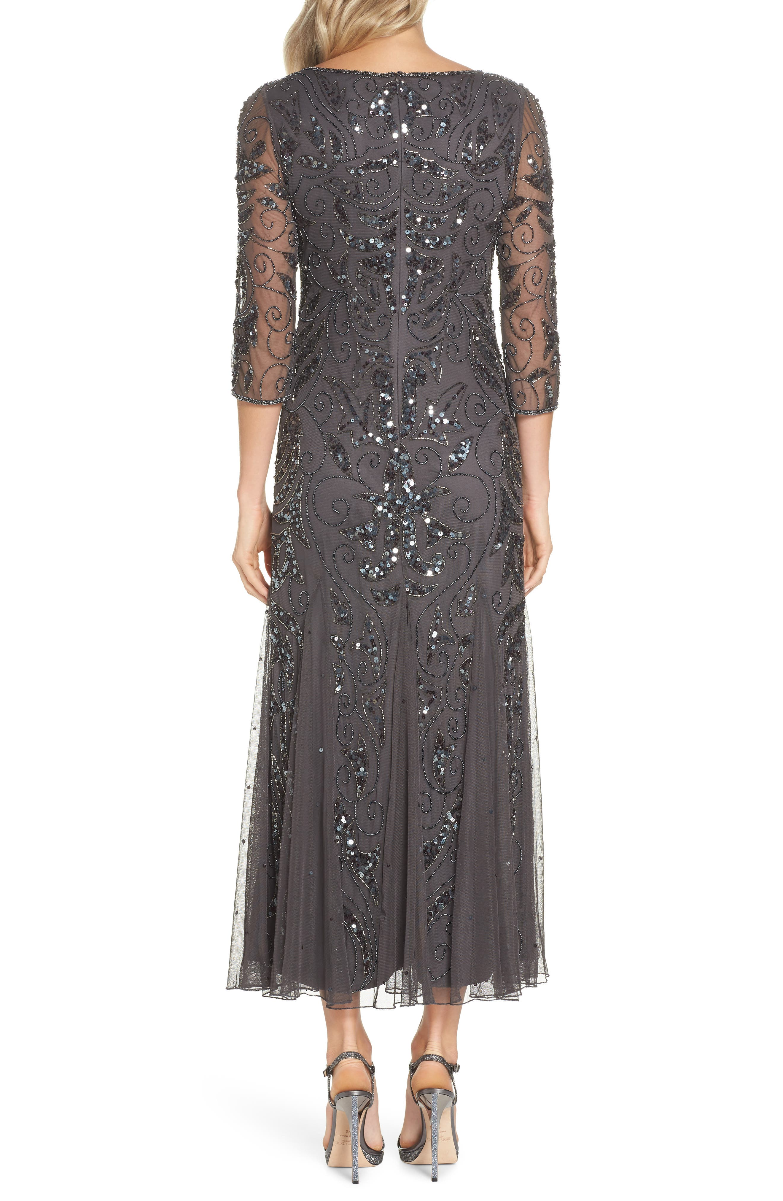 PISARRO NIGHTS, Embellished Mesh Gown, Alternate thumbnail 2, color, NEW ASH