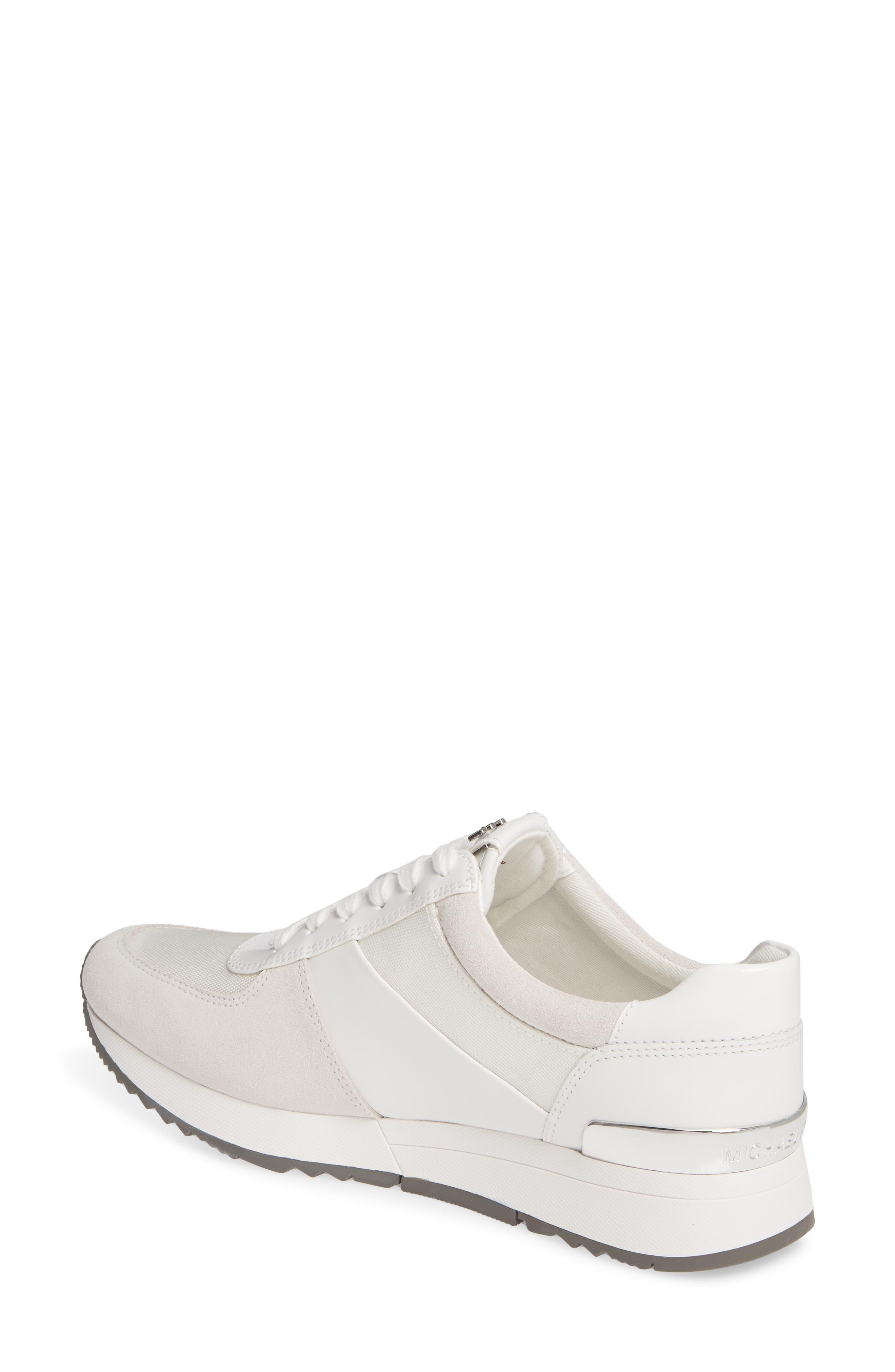 MICHAEL MICHAEL KORS, 'Allie' Sneaker, Alternate thumbnail 2, color, OPTIC WHITE LEATHER/ CANVAS