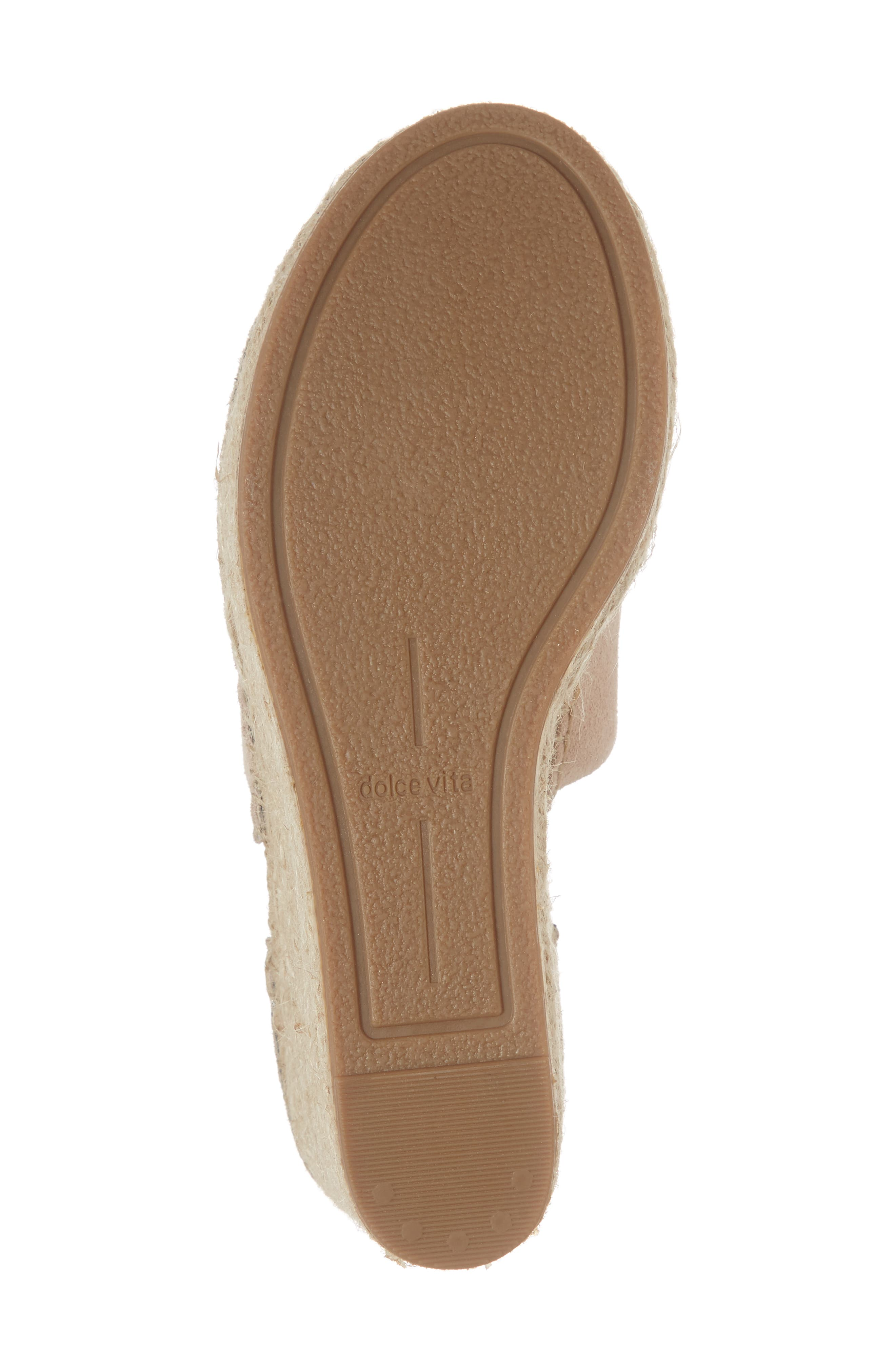 DOLCE VITA, Straw Wedge Espadrille Sandal, Alternate thumbnail 6, color, BLUSH