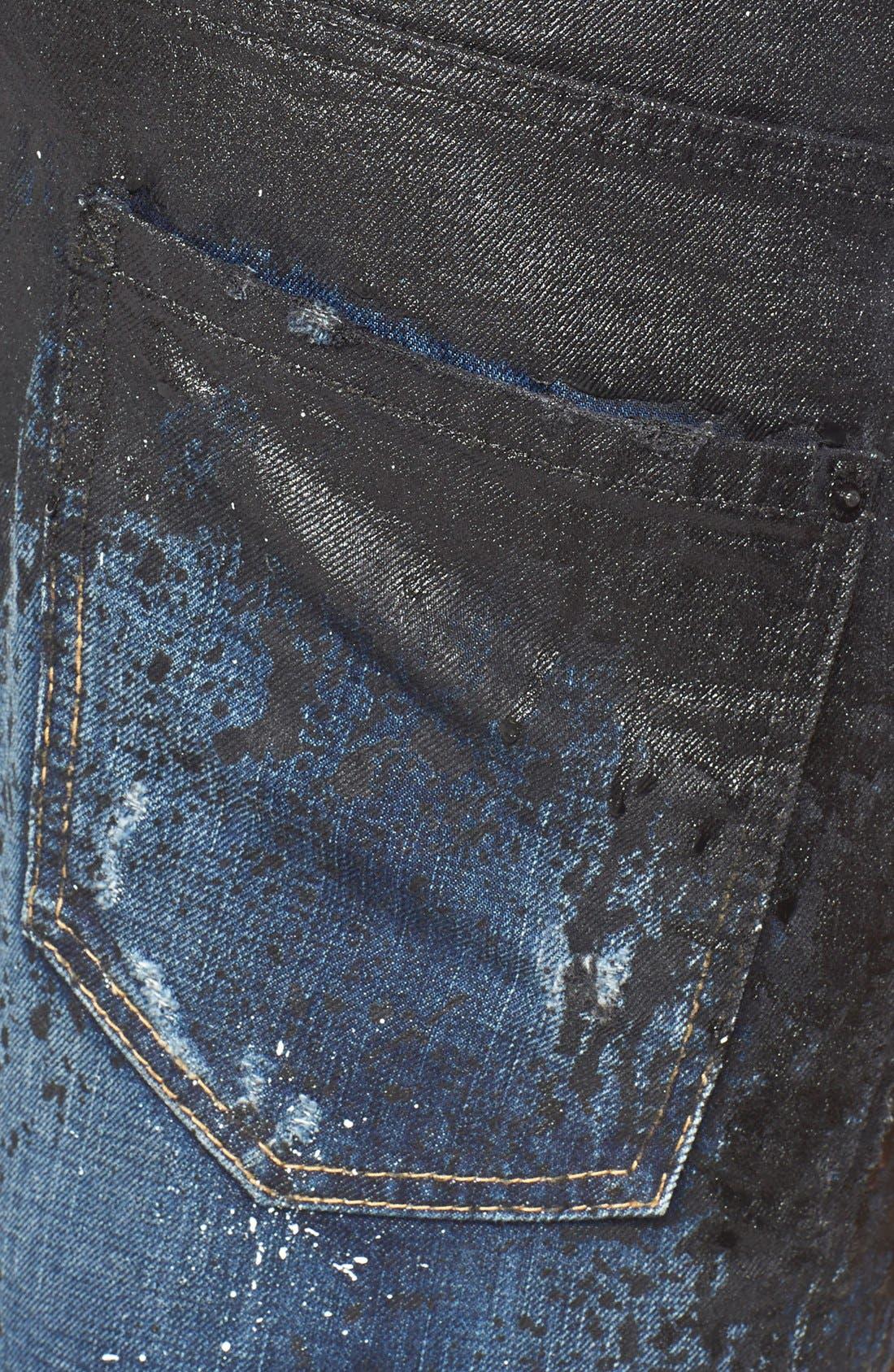 DSQUARED2, Skater Fit Double Waist Paint Splatter Jeans, Alternate thumbnail 3, color, 005
