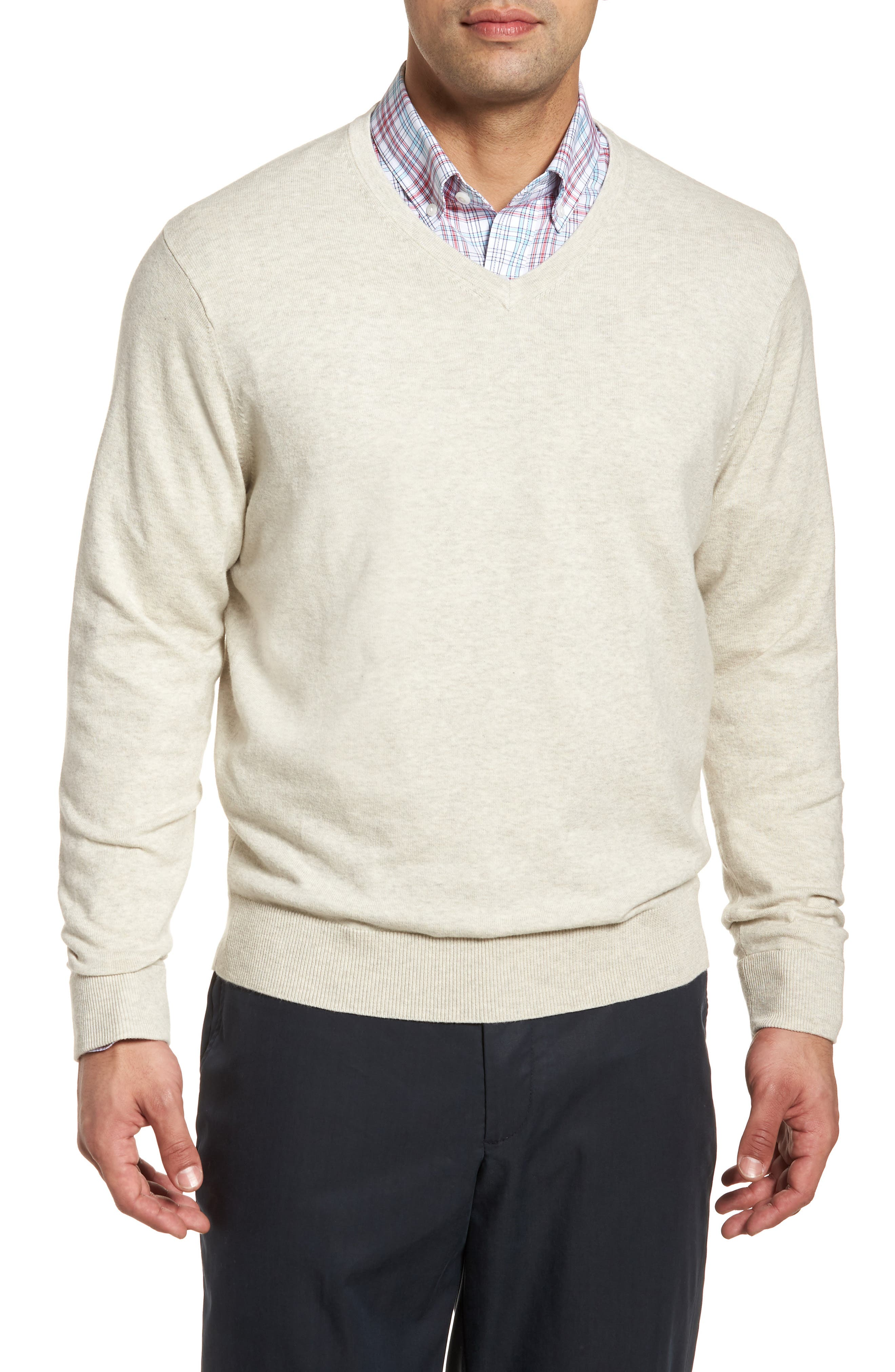 CUTTER & BUCK, Lakemont Classic Fit V-Neck Sweater, Main thumbnail 1, color, OATMEAL HEATHER
