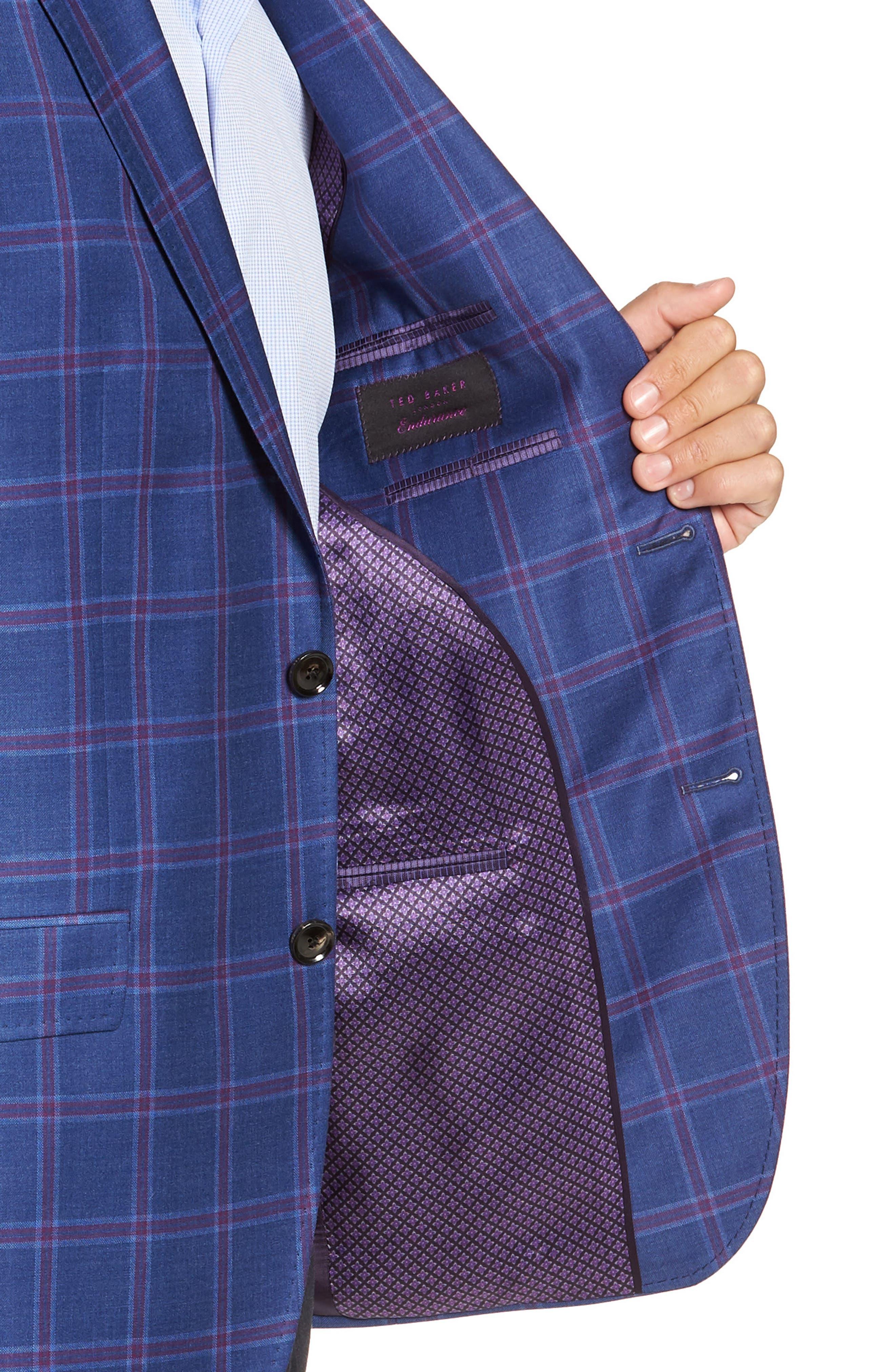 TED BAKER LONDON, Konan Trim Fit Wool Sport Coat, Alternate thumbnail 4, color, BLUE