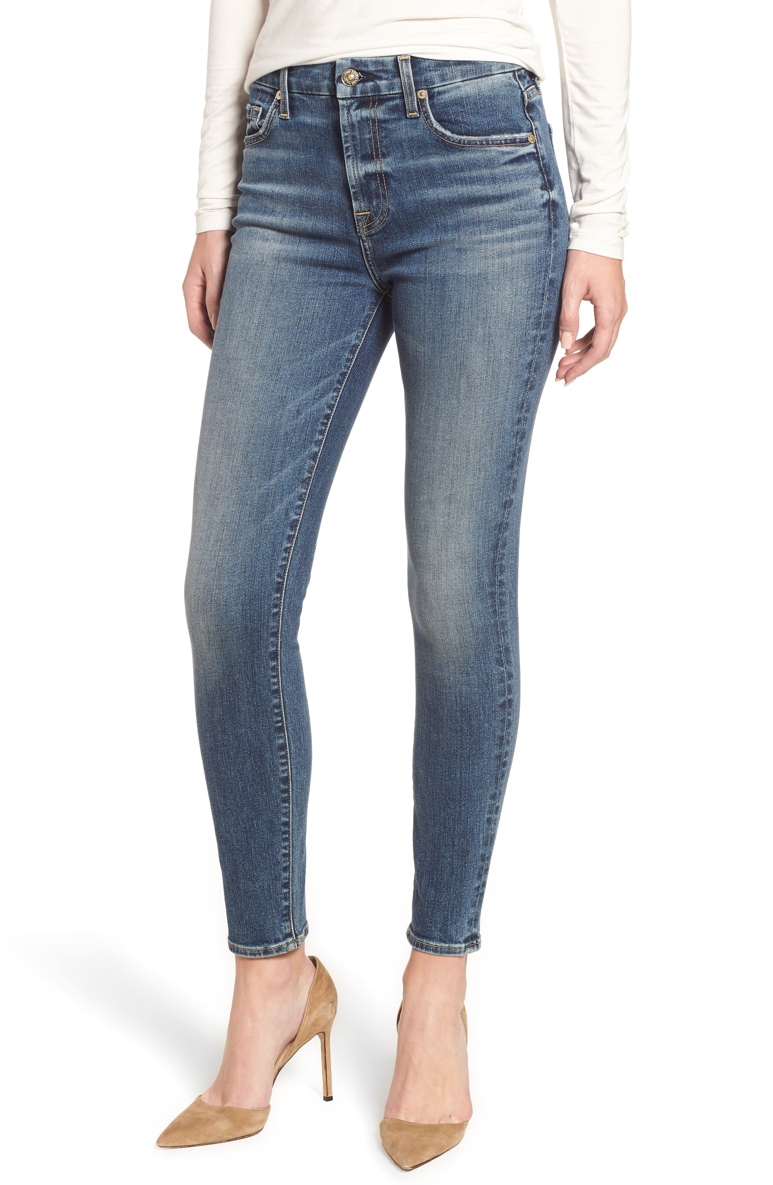 7 FOR ALL MANKIND<SUP>®</SUP>, The High Waist Ankle Skinny Jeans, Main thumbnail 1, color, 400