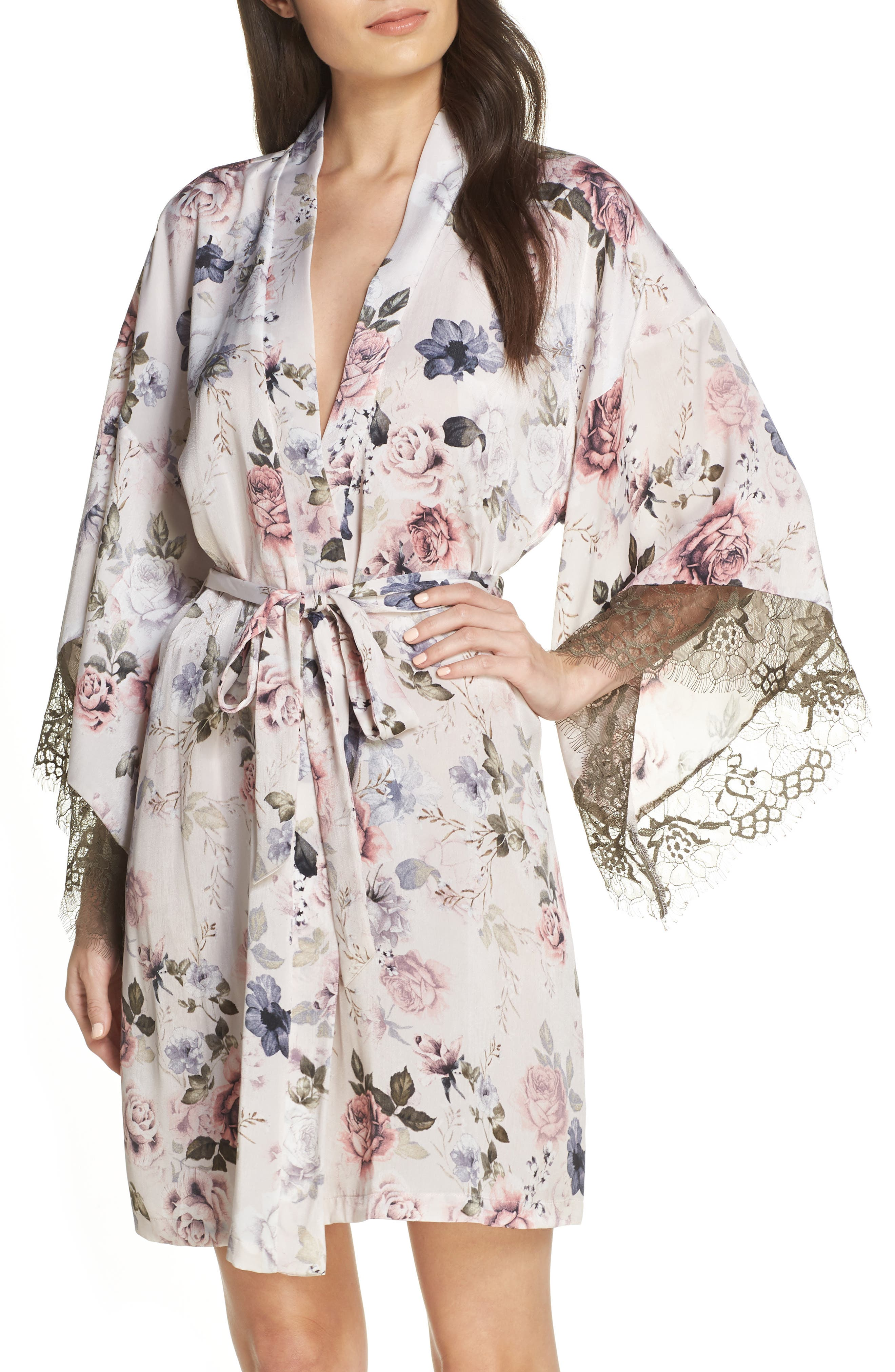 MIDNIGHT BAKERY Satin Kimono Wrap, Main, color, PRIMROSE PRINT