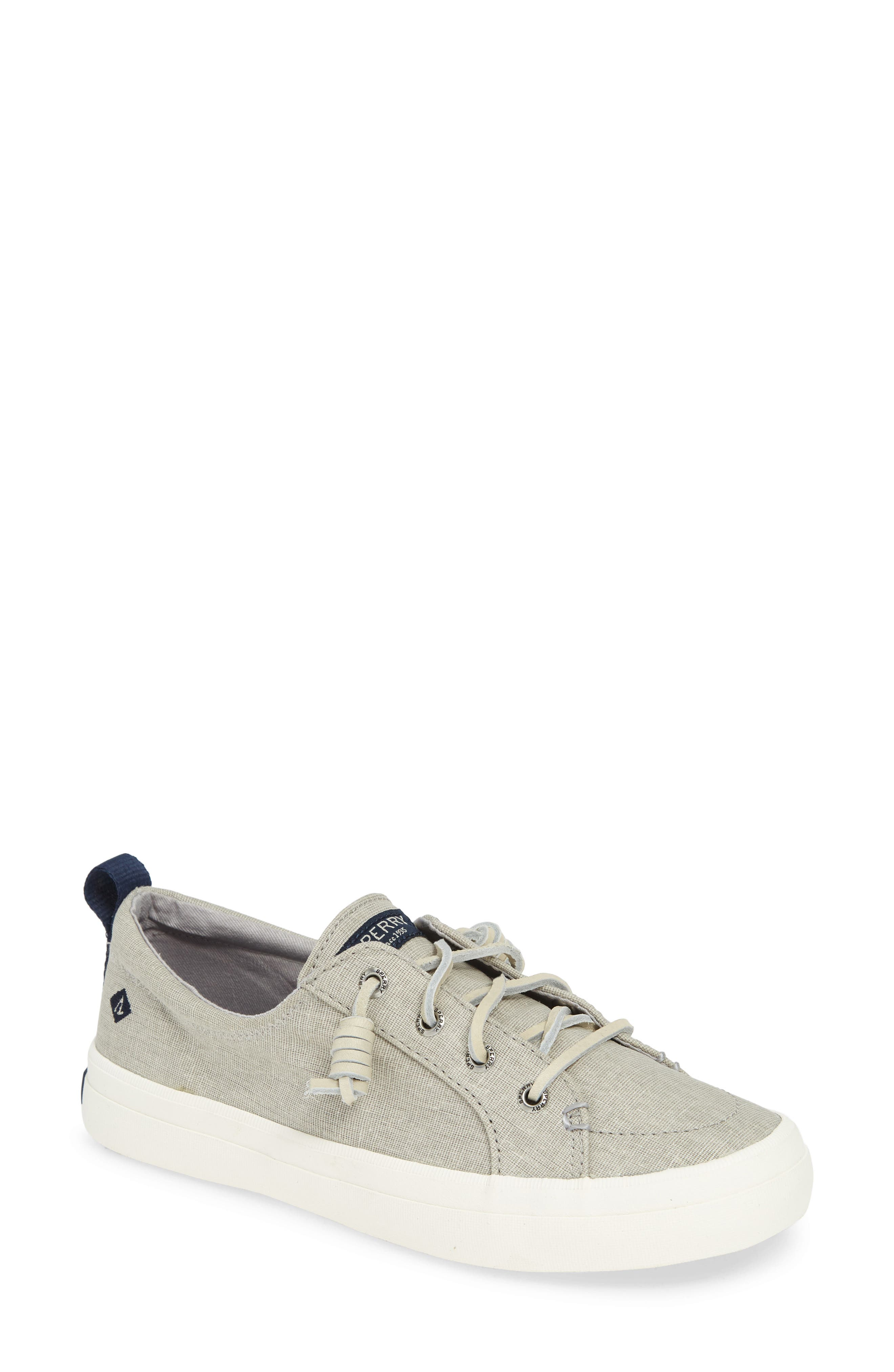 SPERRY, Crest Vibe Sneaker, Main thumbnail 1, color, GREY LINEN FABRIC
