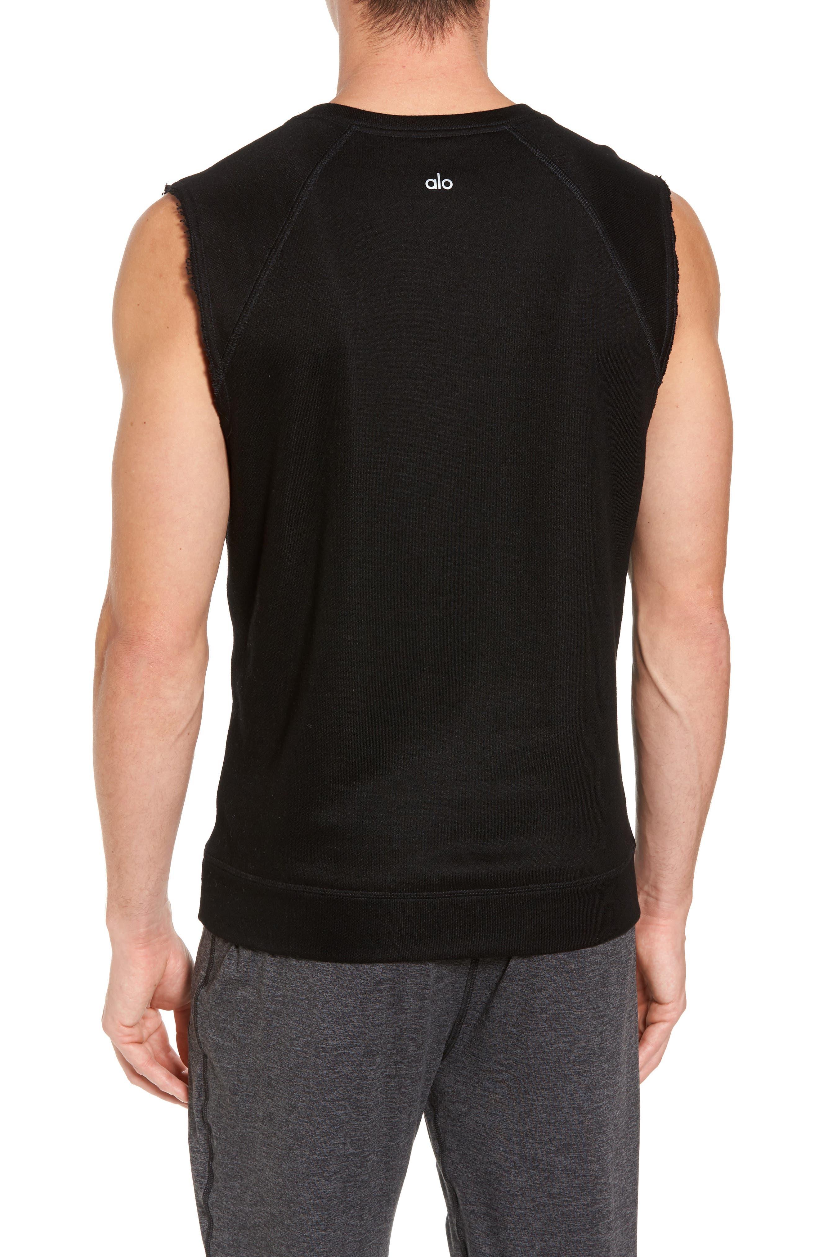 ALO, Dosha Relaxed Fit Sweatshirt Tank, Alternate thumbnail 2, color, BLACK