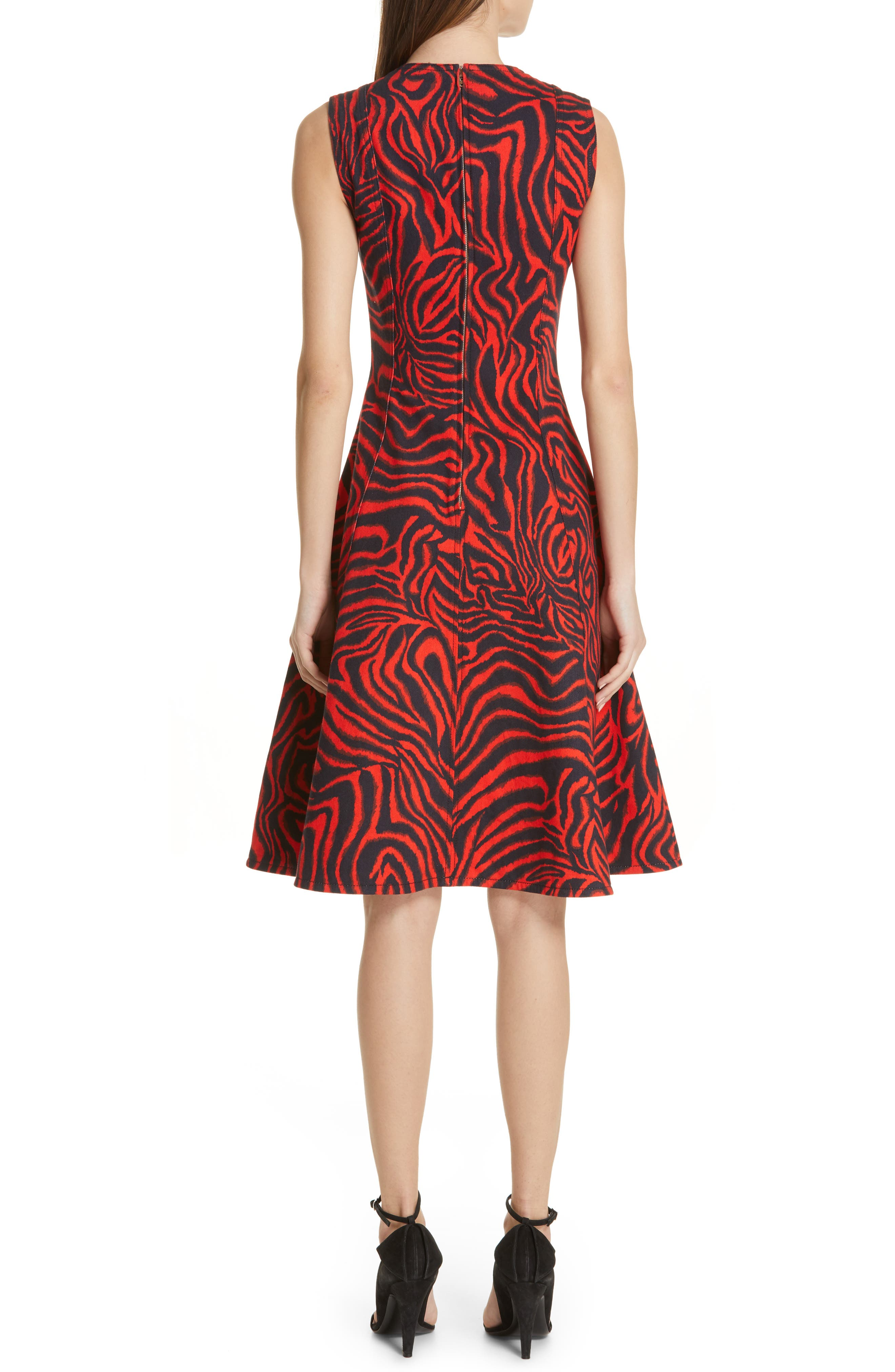 CALVIN KLEIN 205W39NYC, Zebra Print Denim A-Line Dress, Alternate thumbnail 2, color, RED ZEBRA