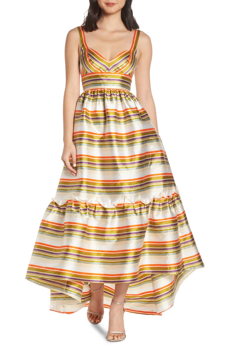 Jill Jill Stuart STRIPE HIGH LOW RUFFLE HEM GOWN