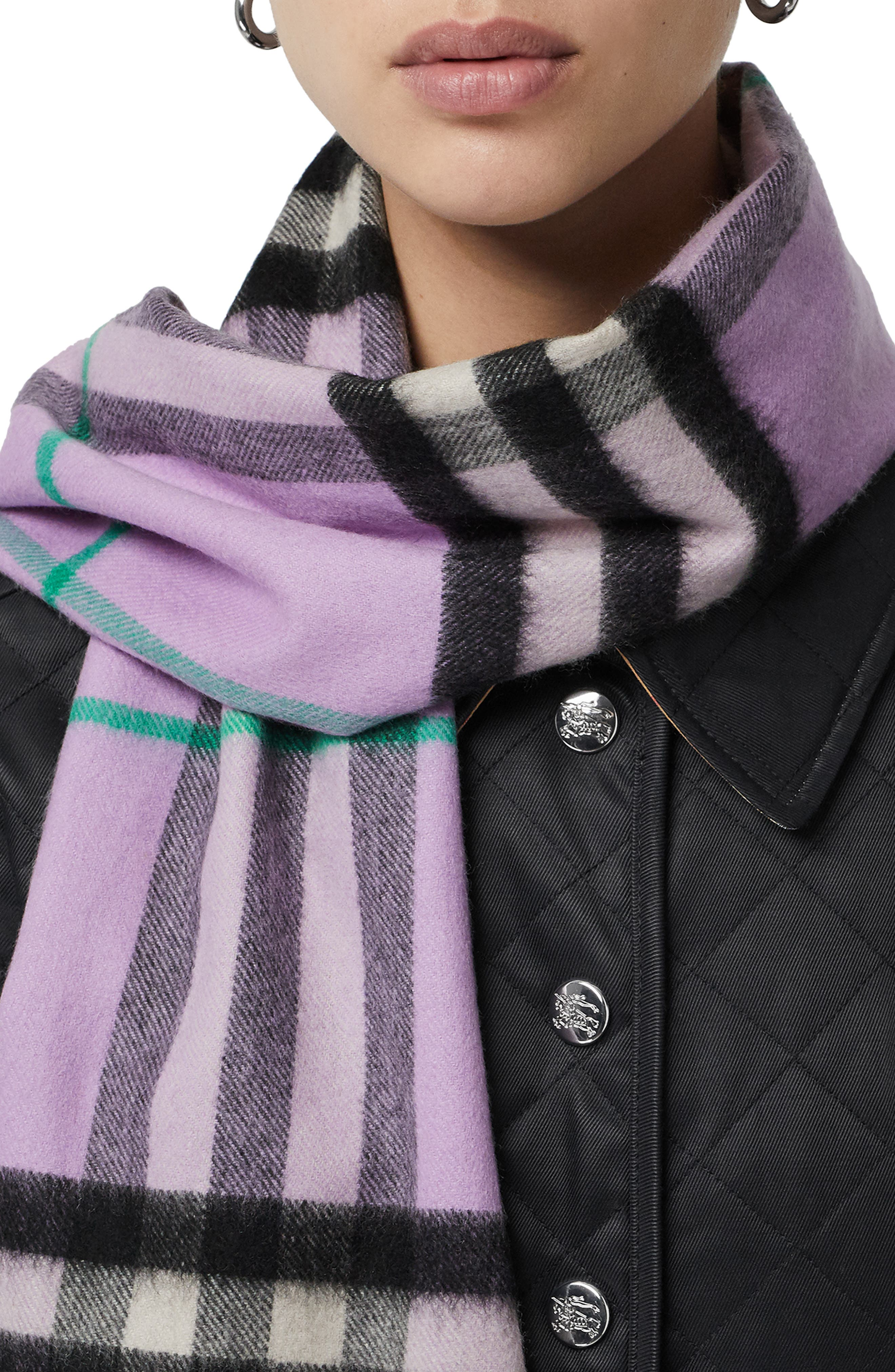 BURBERRY, Giant Check Cashmere Scarf, Alternate thumbnail 6, color, PALE HEATHER